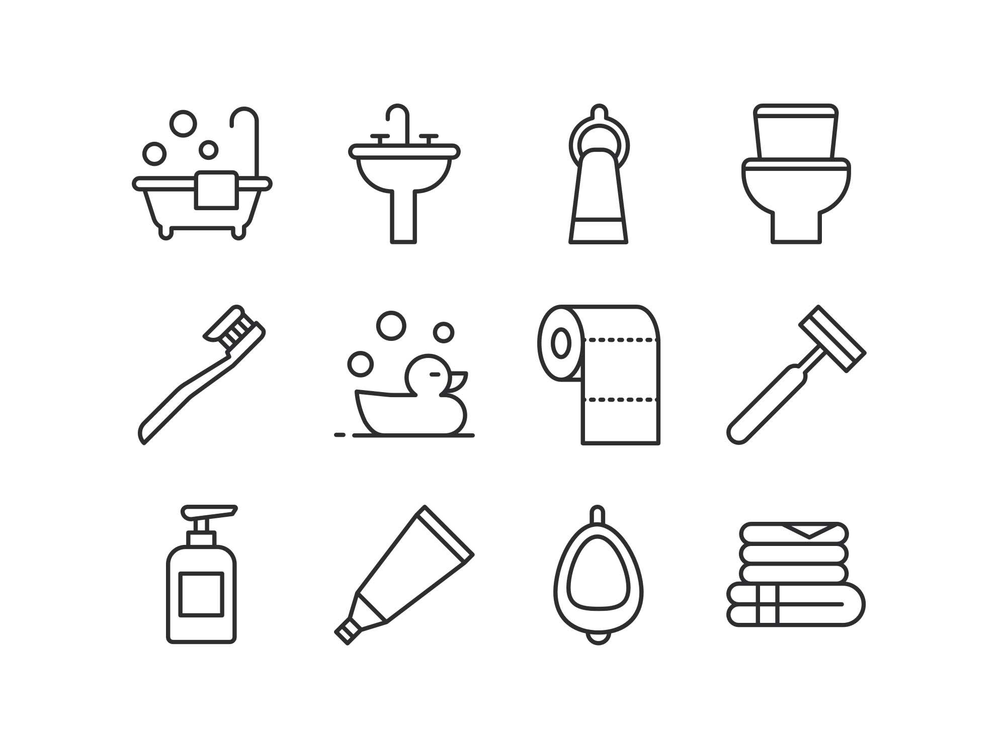 Bathroom Line Icons