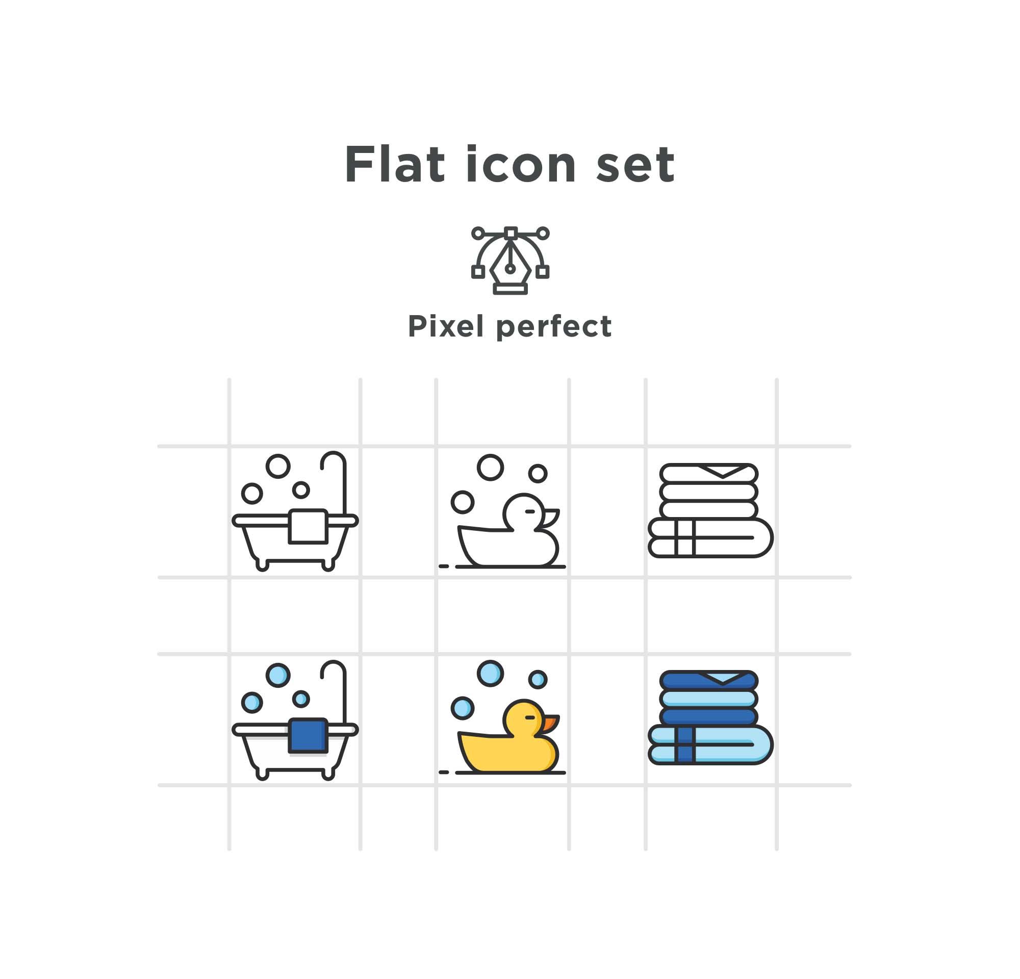 Bathroom Flat Icons