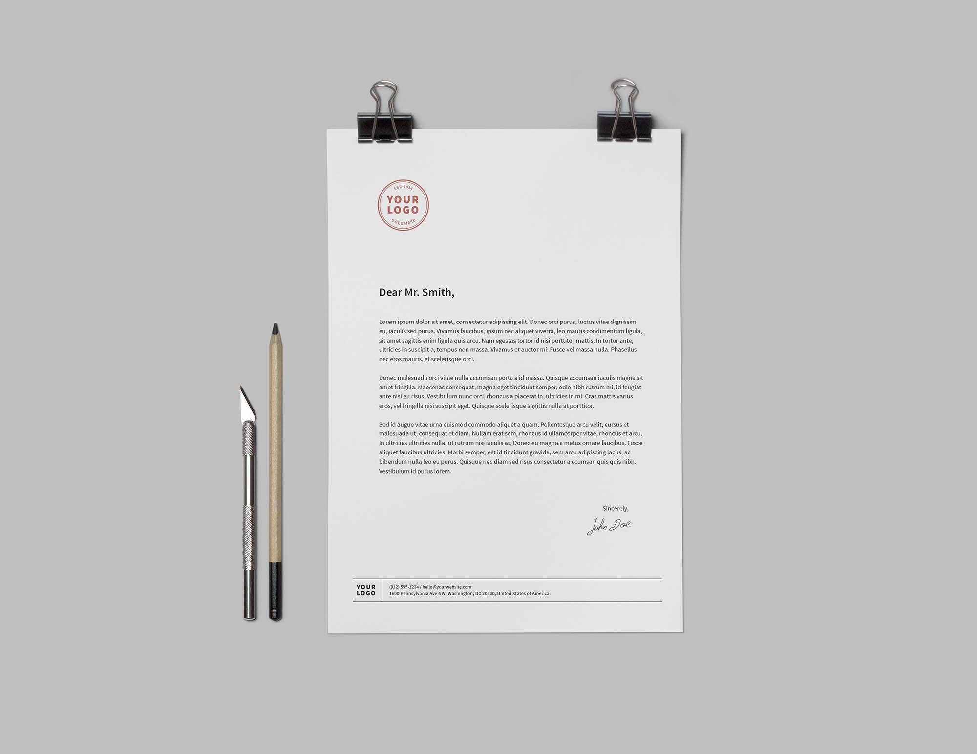 Branding and Identity Mockup - Letterhead