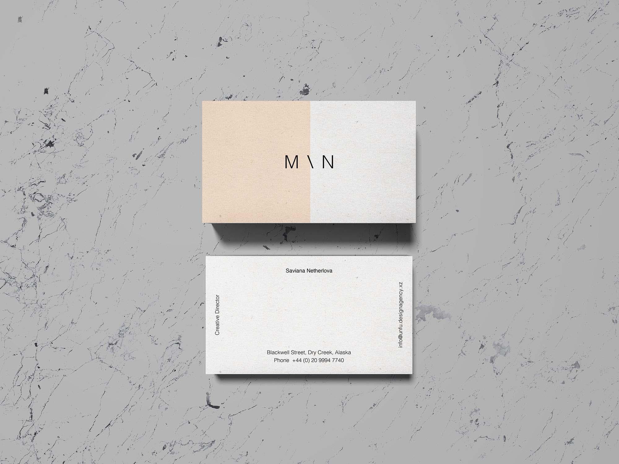 Overhead Business Card Mockup