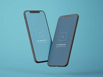 Flying iPhone X Mockup