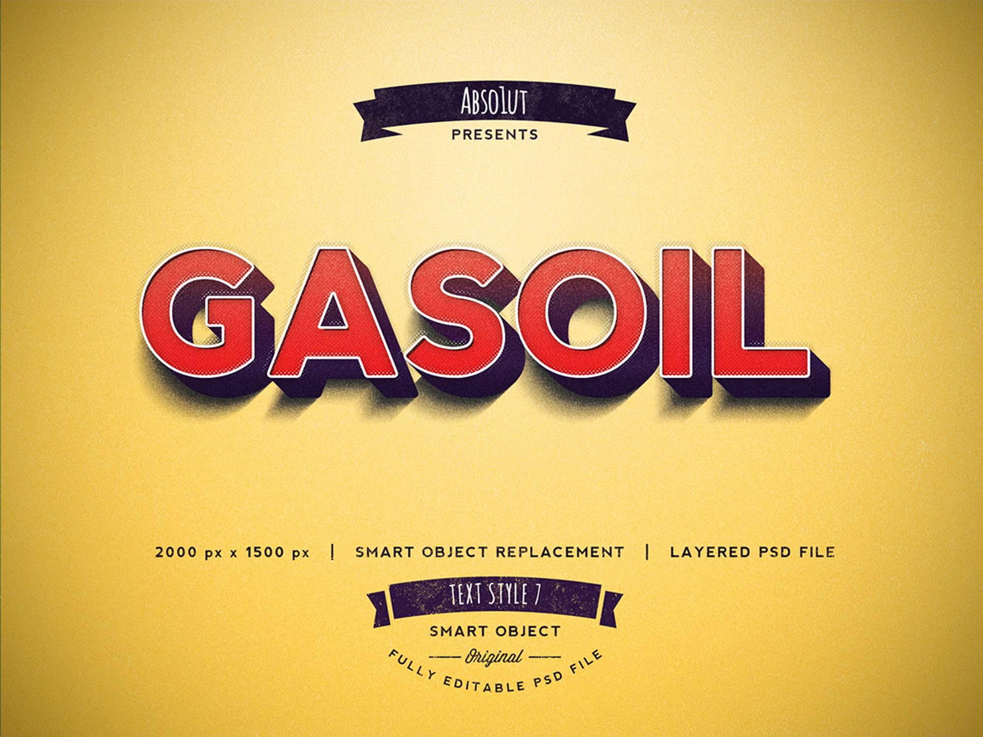 Free Gasoil Photoshop Text Effect PSD