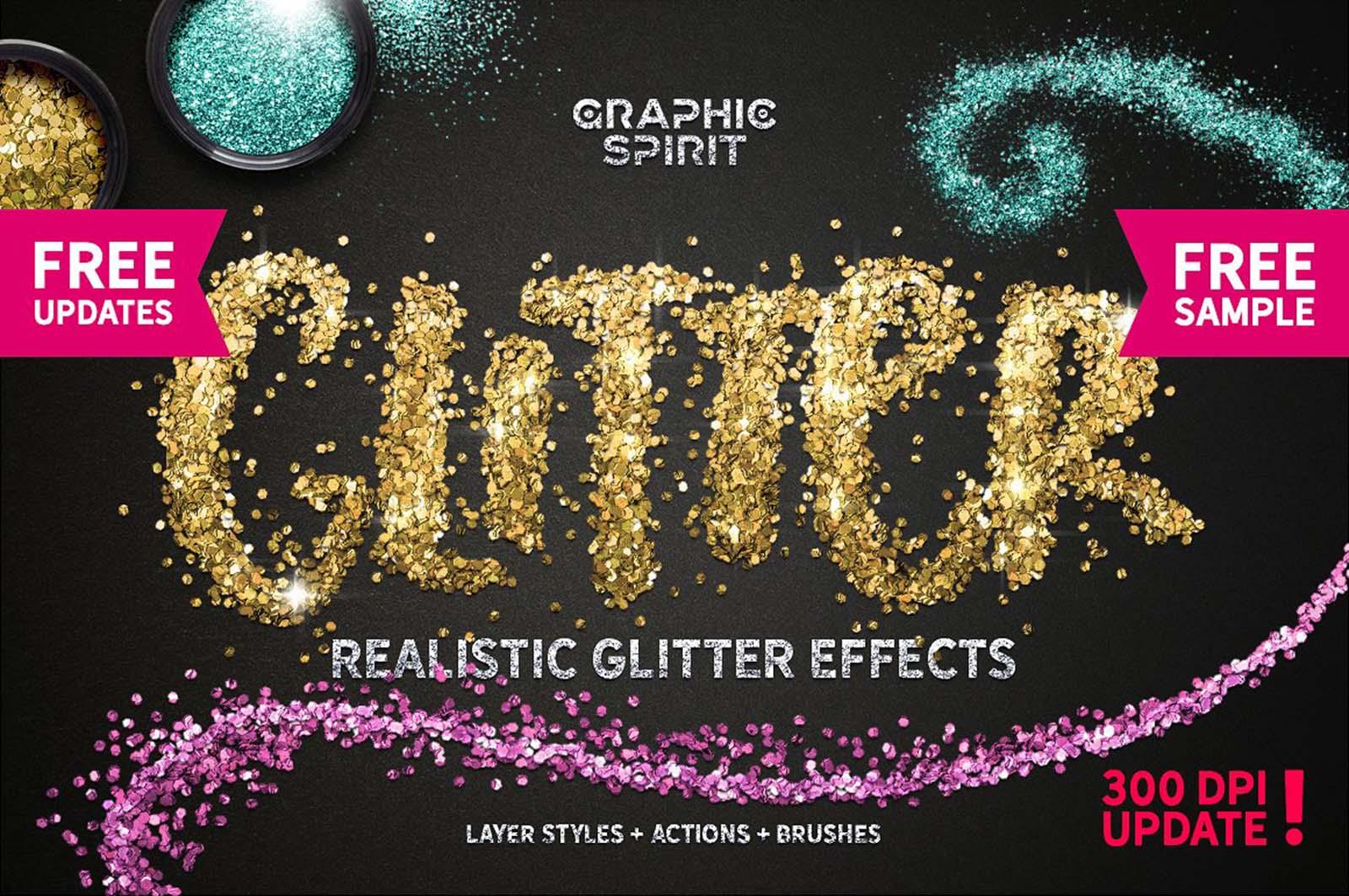 Free Glitter Photoshop Text Effect
