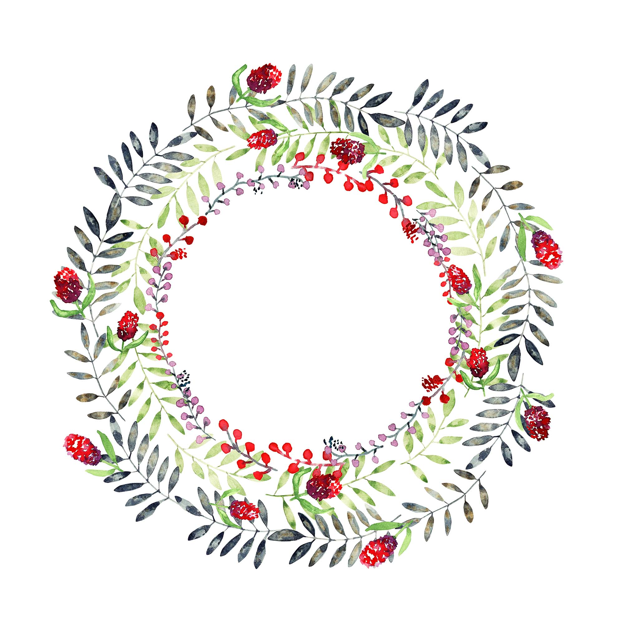 Watercolor Wreath Design
