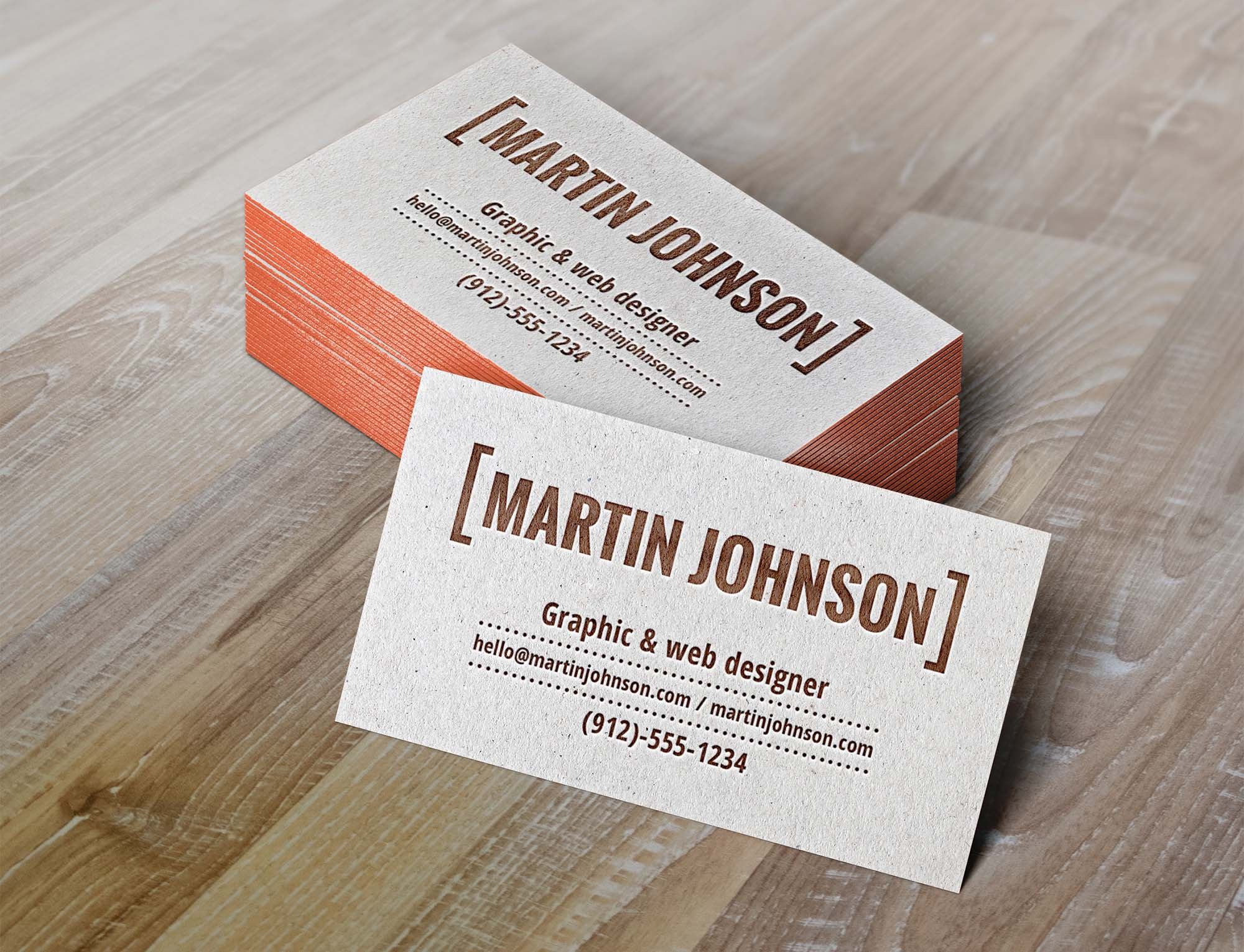 Letterpress Business Cards Mockup