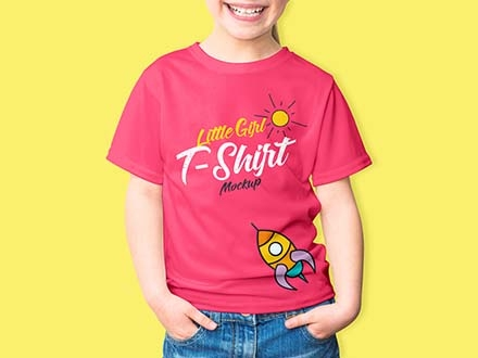 Little Girl T-Shirt Mockup