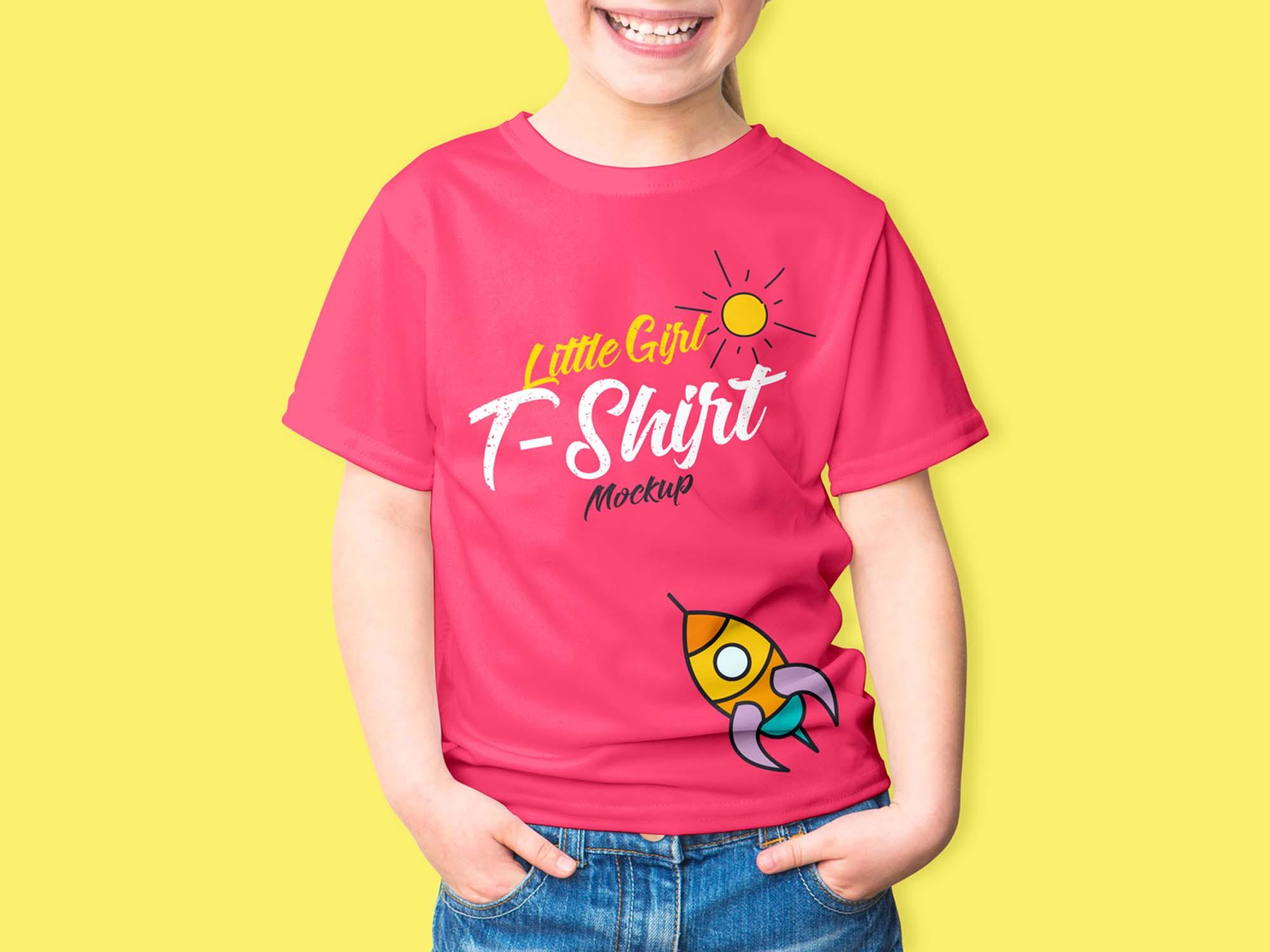d09bdf063f111 Little Girl T-Shirt Mockup (PSD)