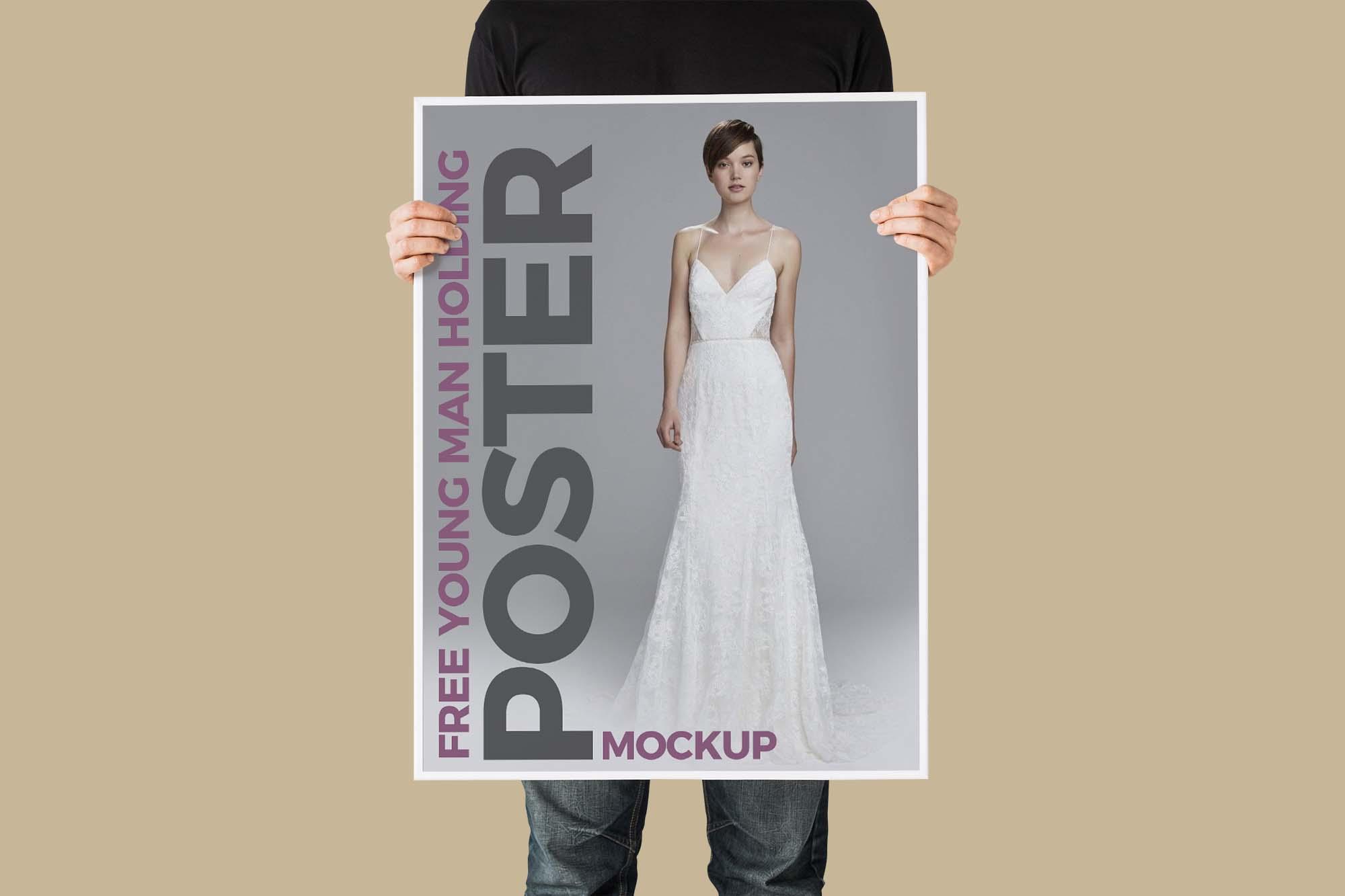 Man Holding Poster Mockup 2