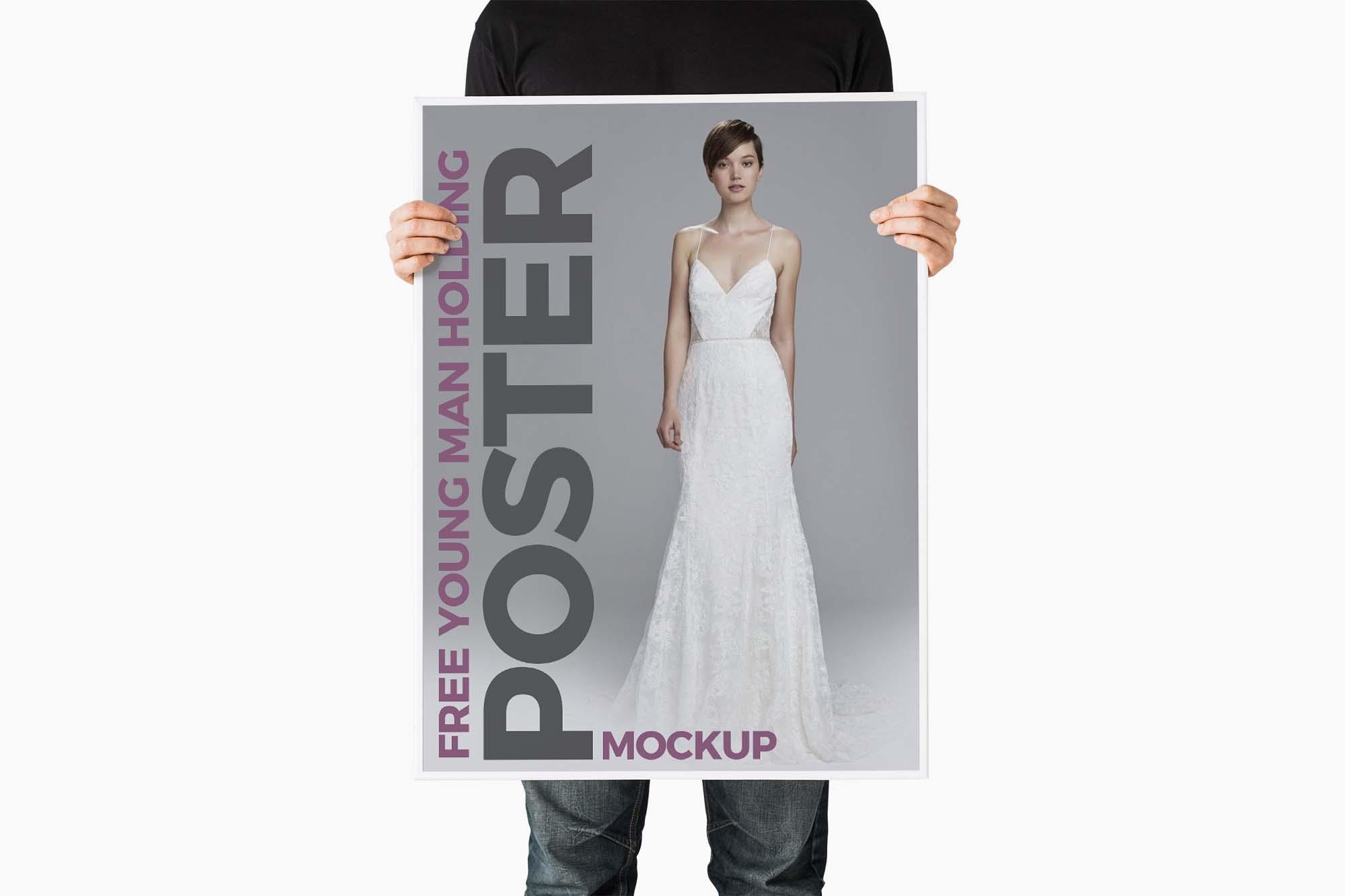 Man Holding Poster Mockup