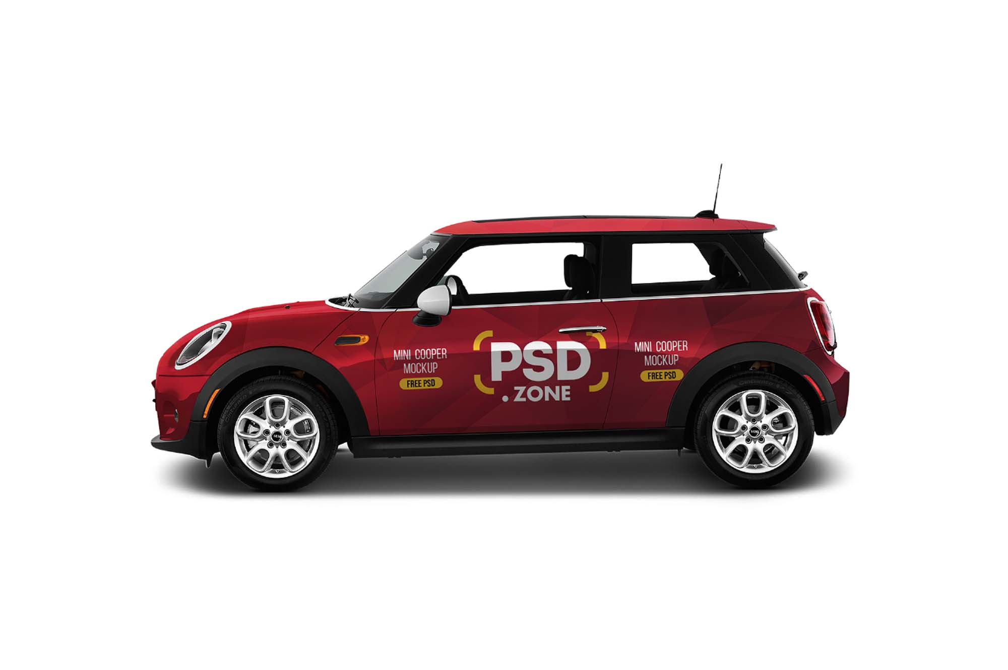 Free mini cooper car mockup psd