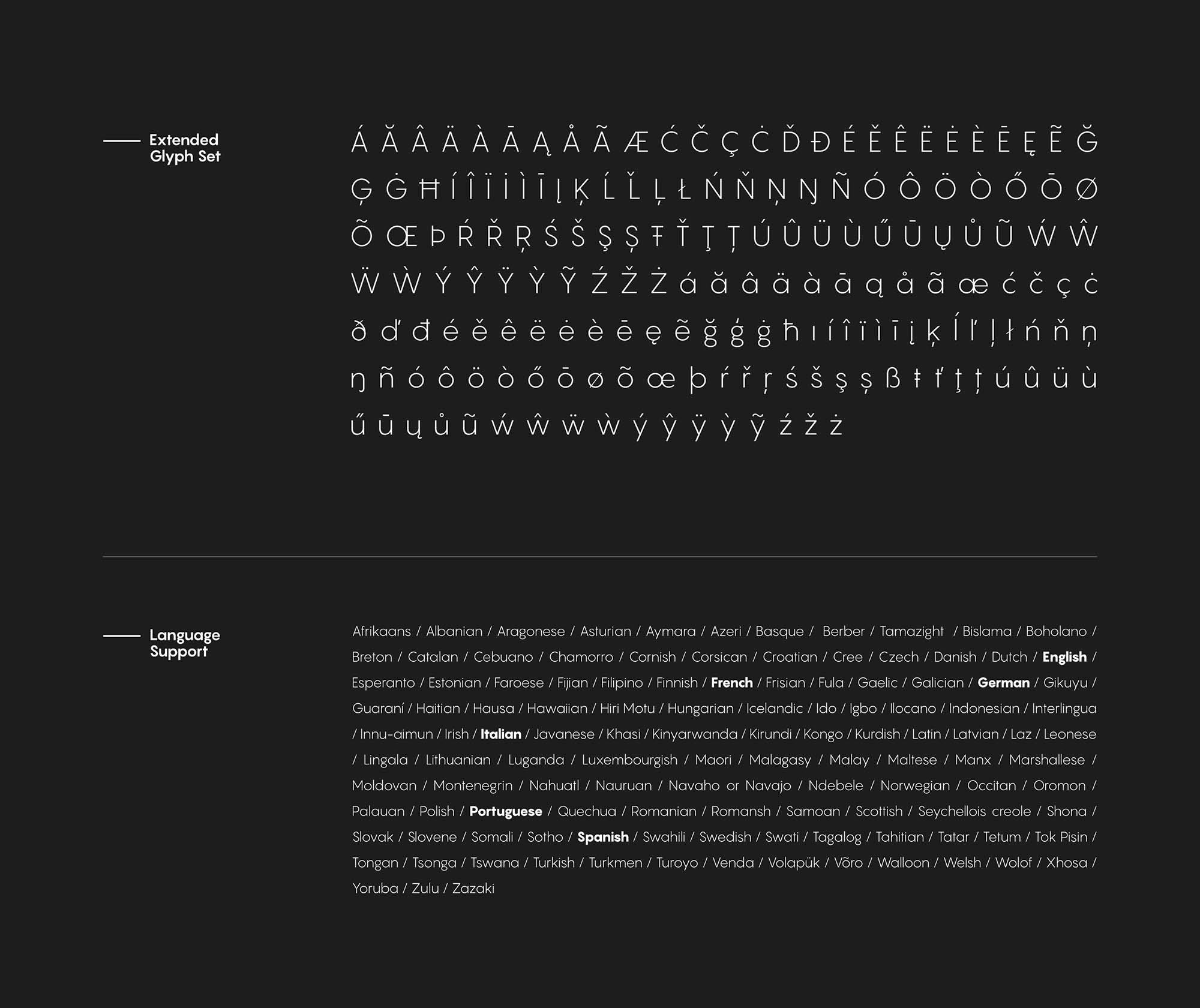 Pangram Sans Font Extended Glyphs