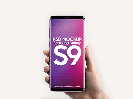 Samsung Galaxy S9 in Hand Mockup