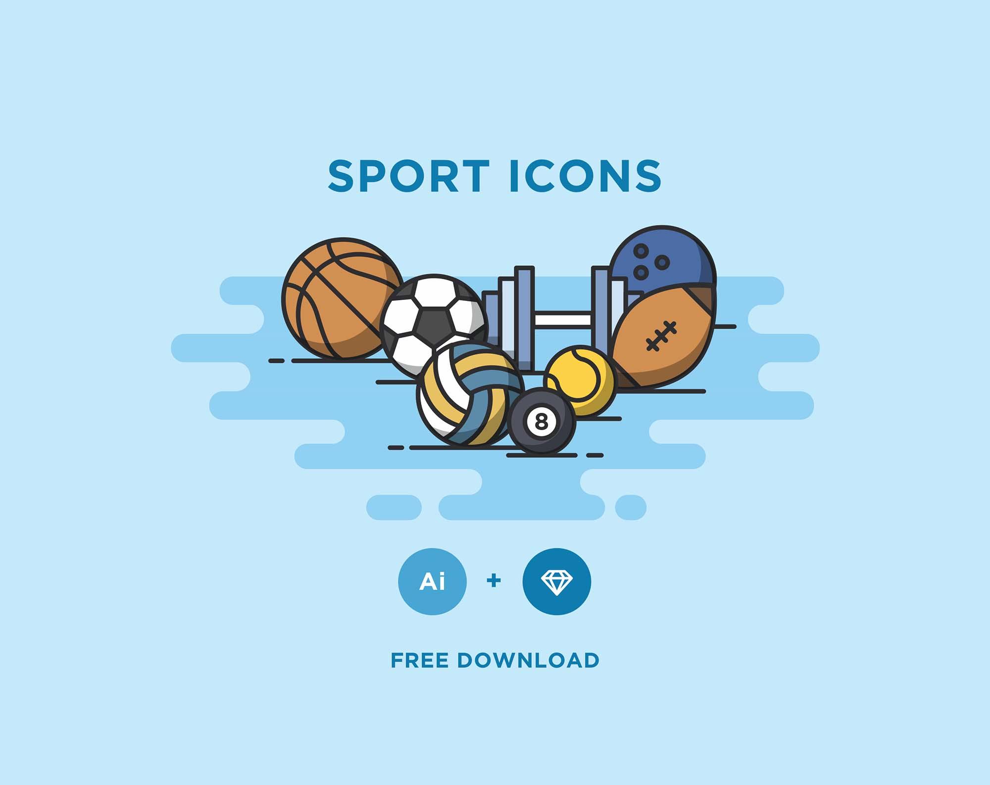12 Free Sport Icons (Ai & Sketch)