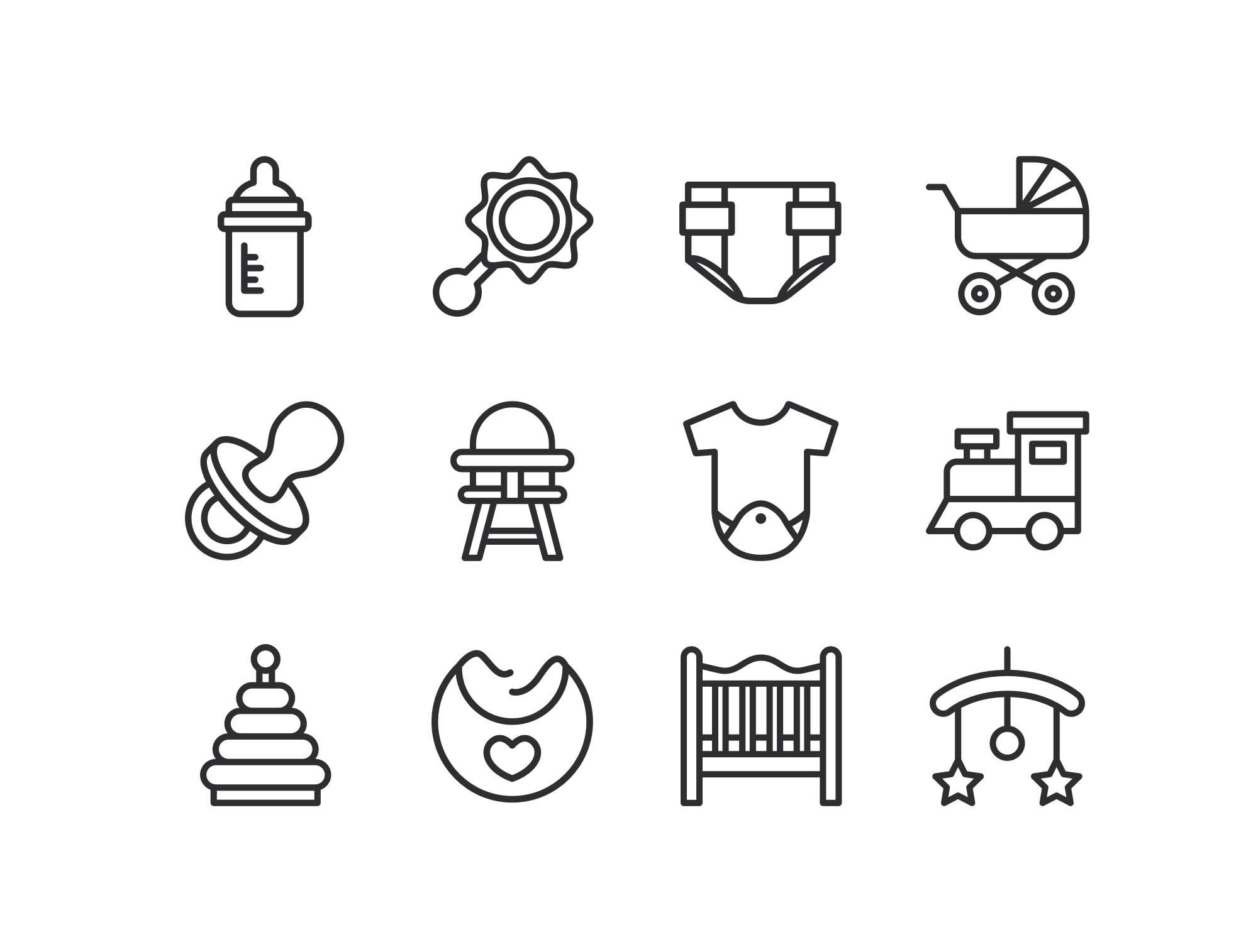 Line Baby Icons