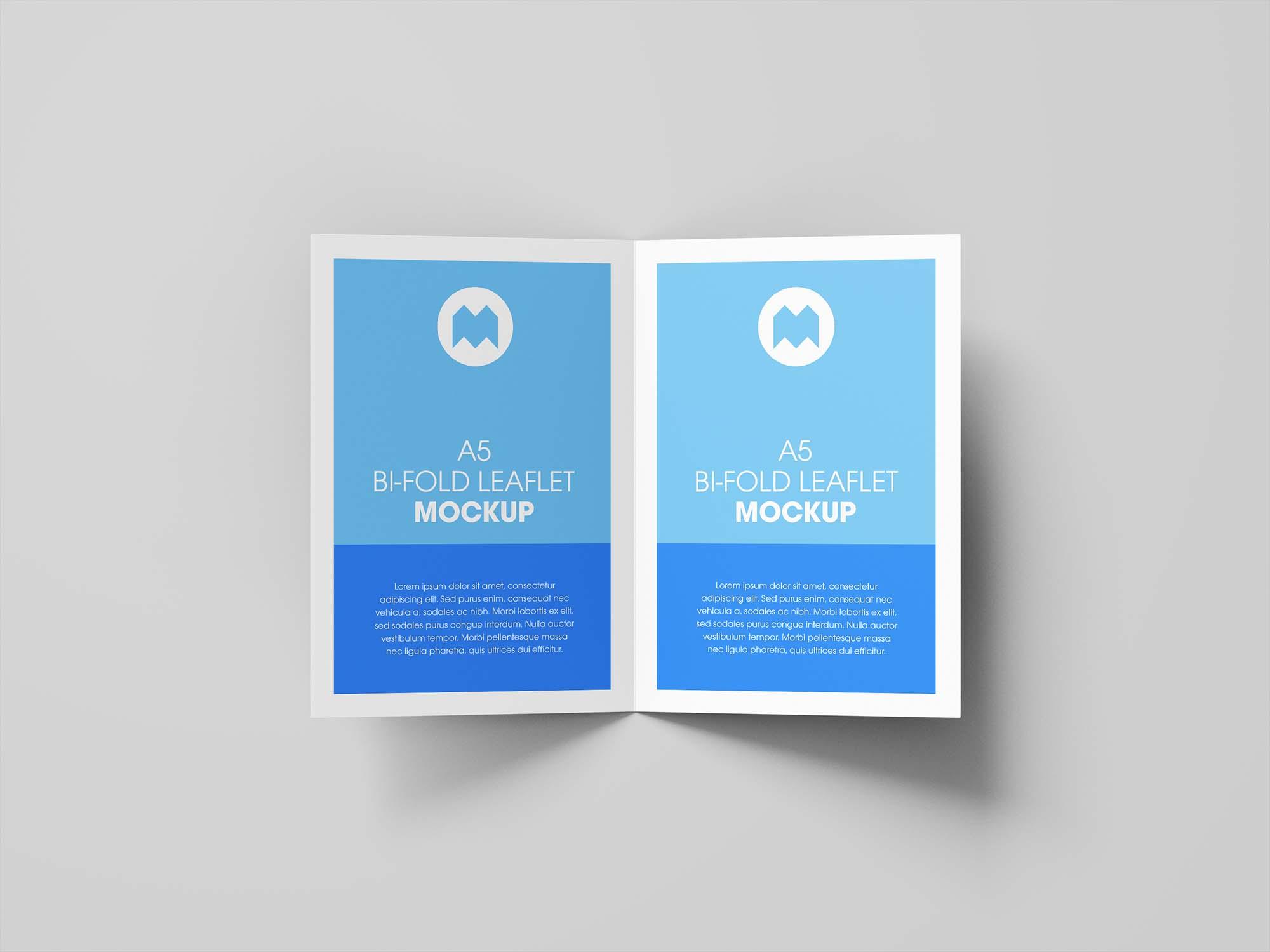 A5 Bifold Leaflet Brochure Mockup PSD