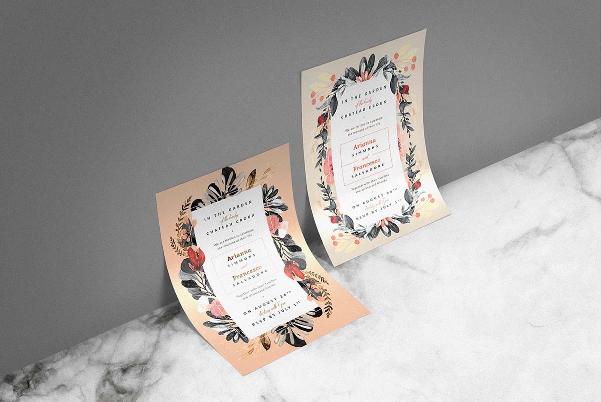 Blush Noir Wedding Invitations