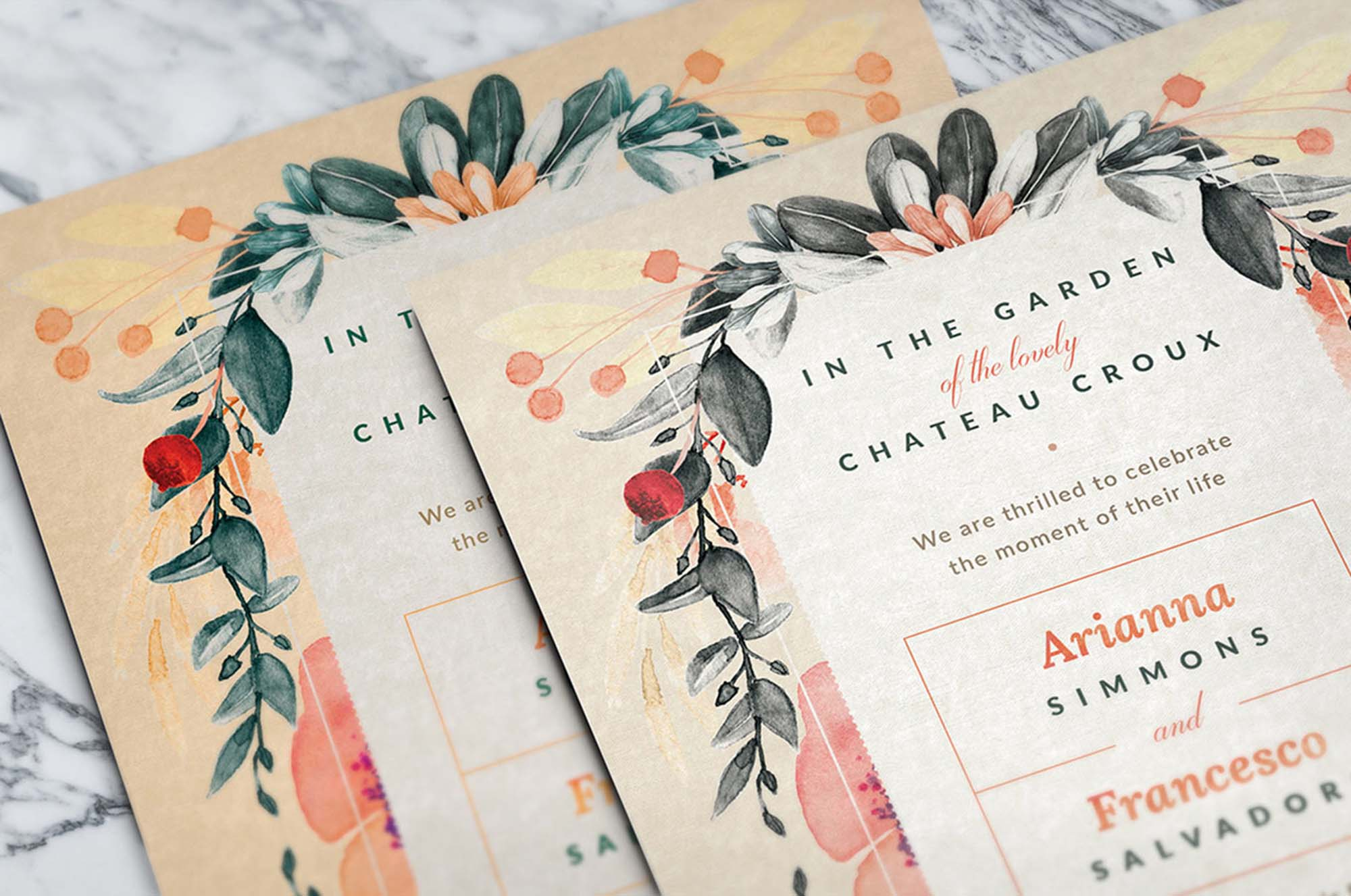 Blush Noir Wedding Invitations