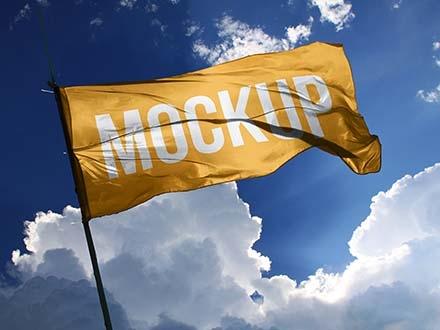Wide Fabric Flag Mockup