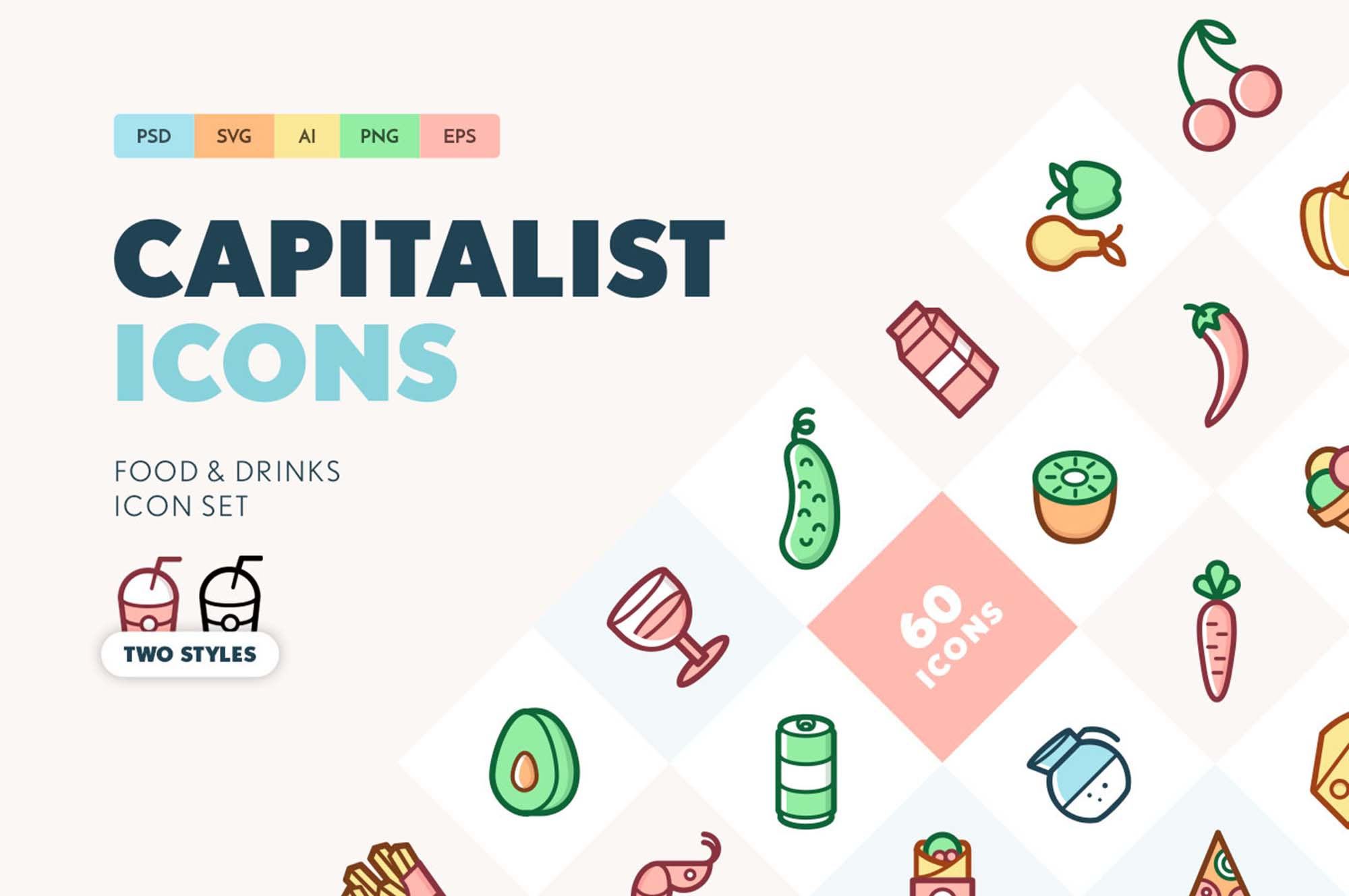 Free Food & Drinks Icons Set (Ai)