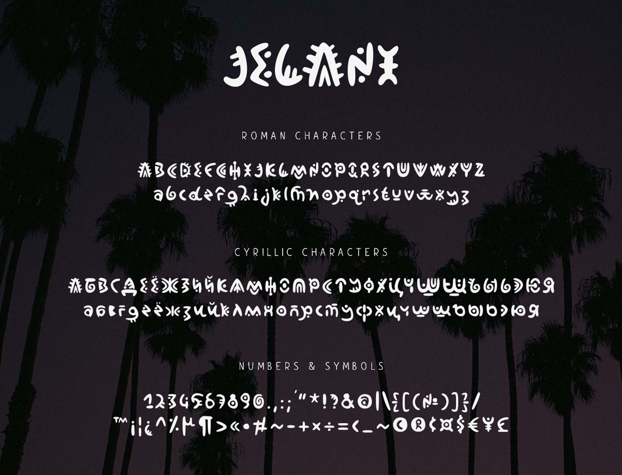 Jelani Display Font Characters