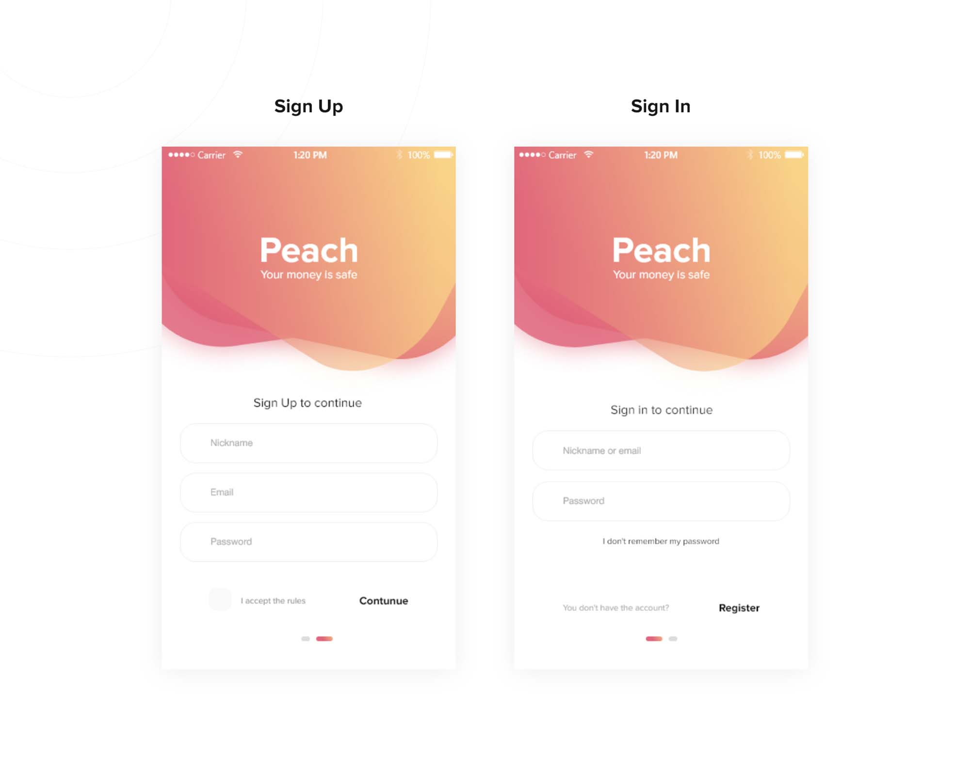 Peach Wallet Ui App Template