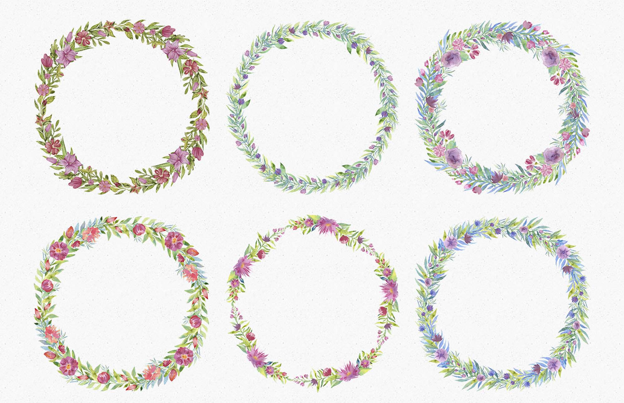 Spring Garden Watercolors Wreaths