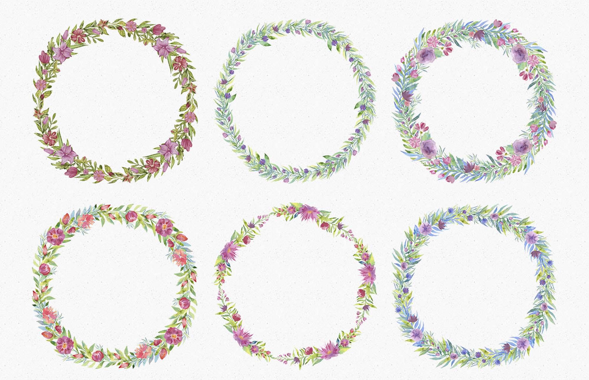 Spring Garden Watercolors Wreaths