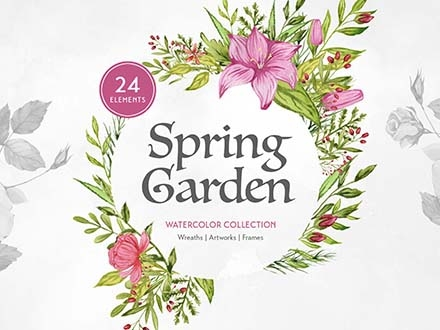 Spring Garden Watercolors PNG