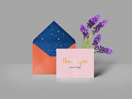 Thank You Card & Envelope Mockup
