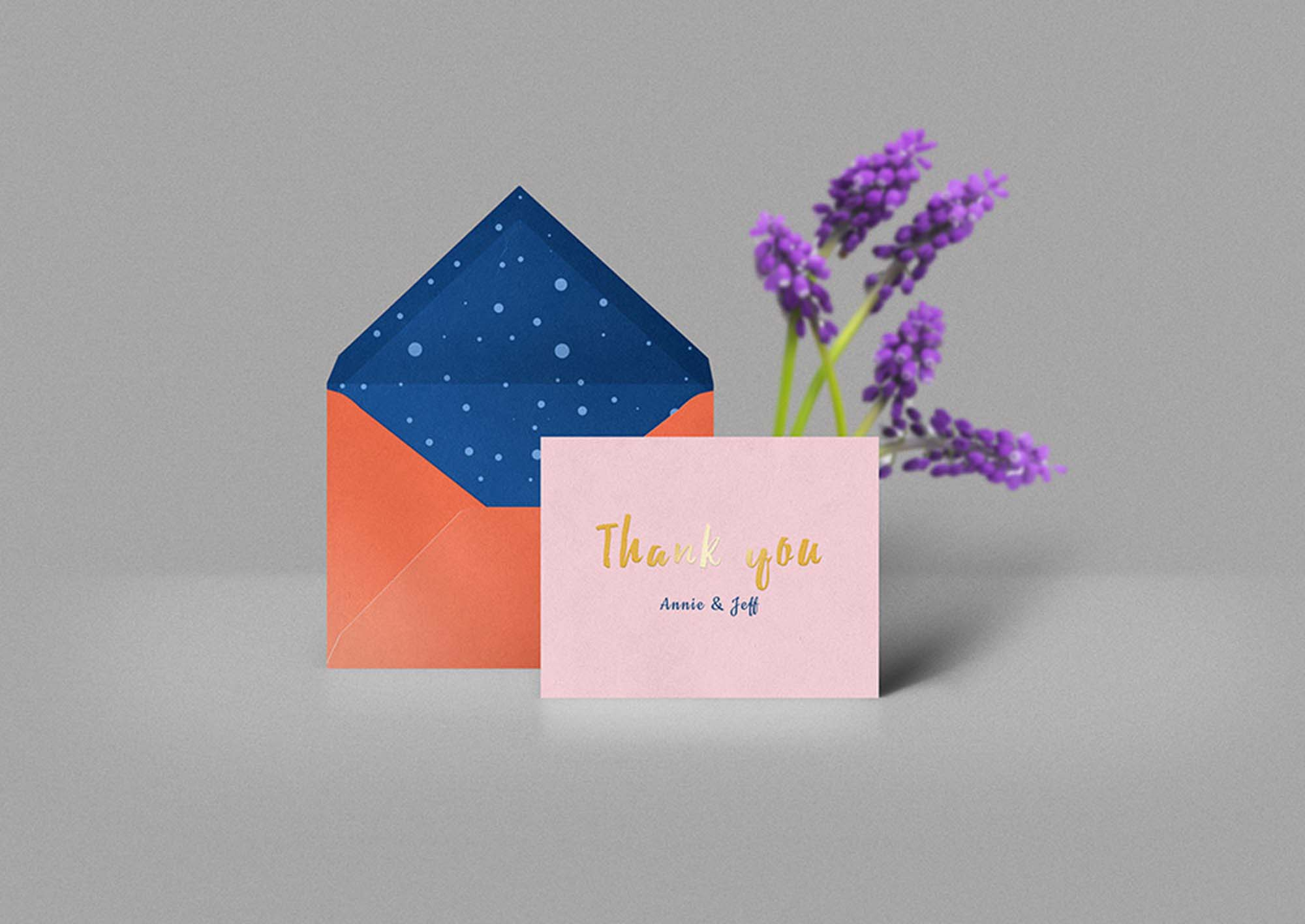 Thank You Card & Envelope Mockup
