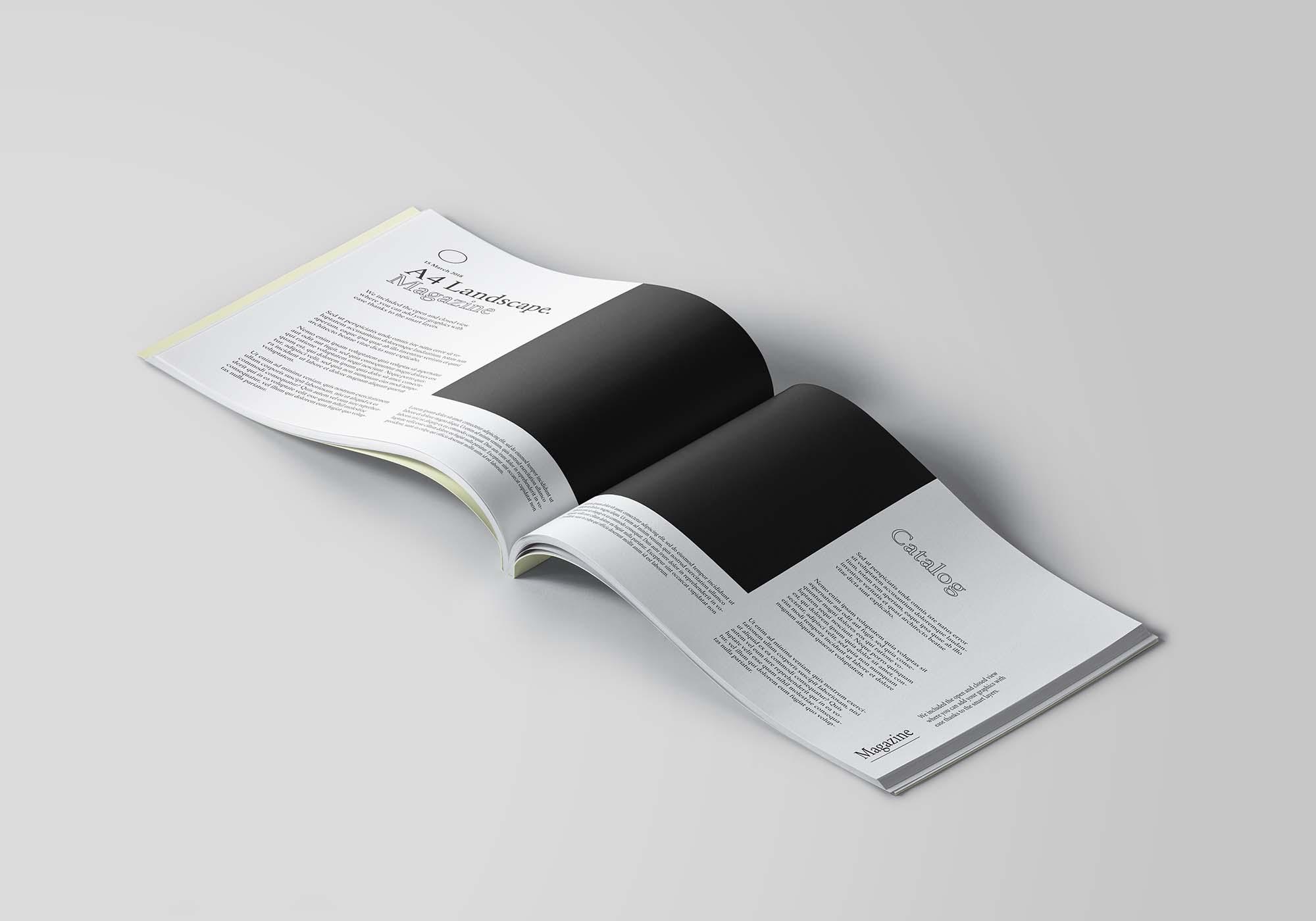 A4 Landscape Opened Brochure Mockup