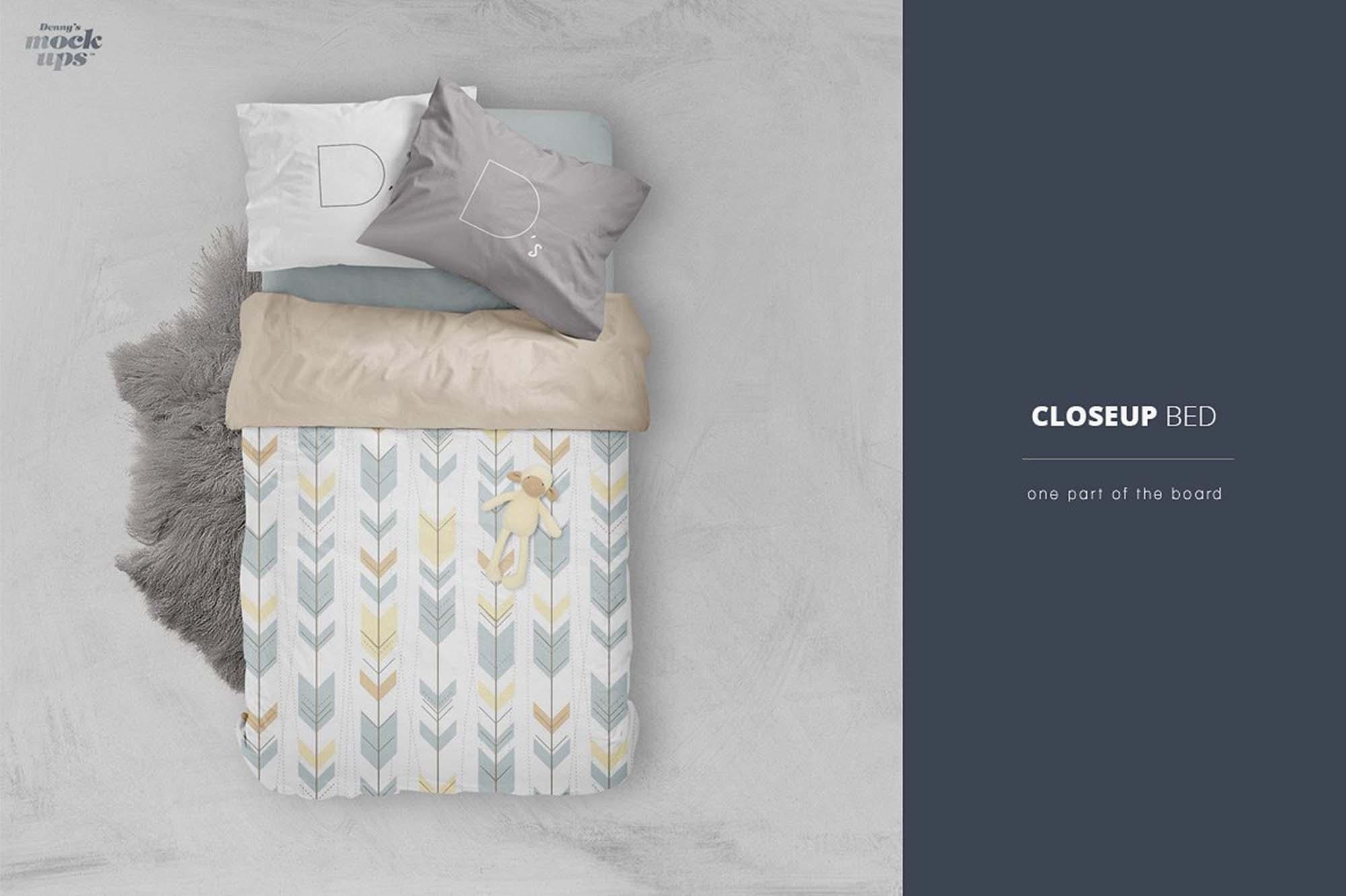 Free Bed Linen Mockup Psd