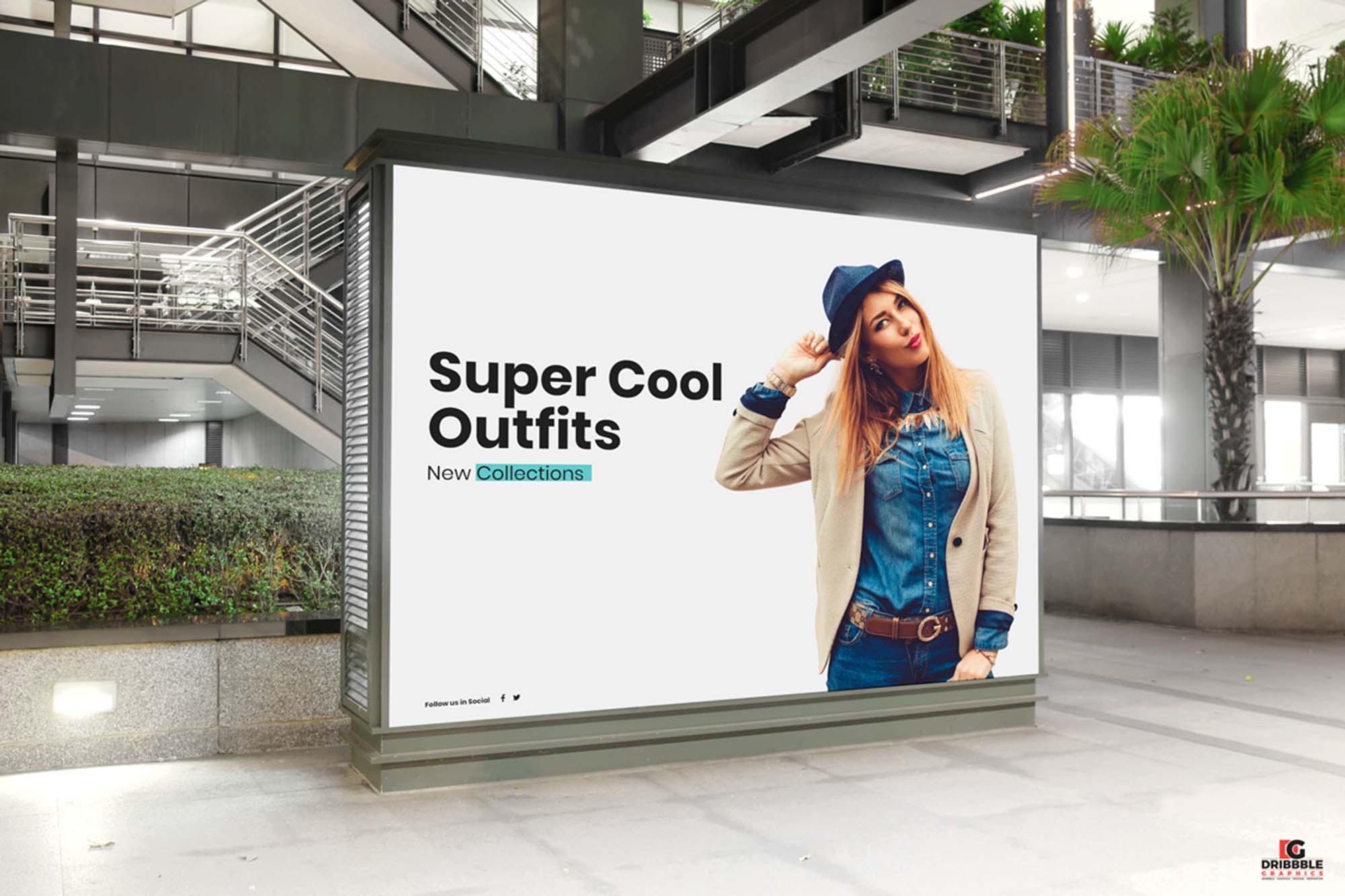 Indoor Billboard Digital Ad Mockup