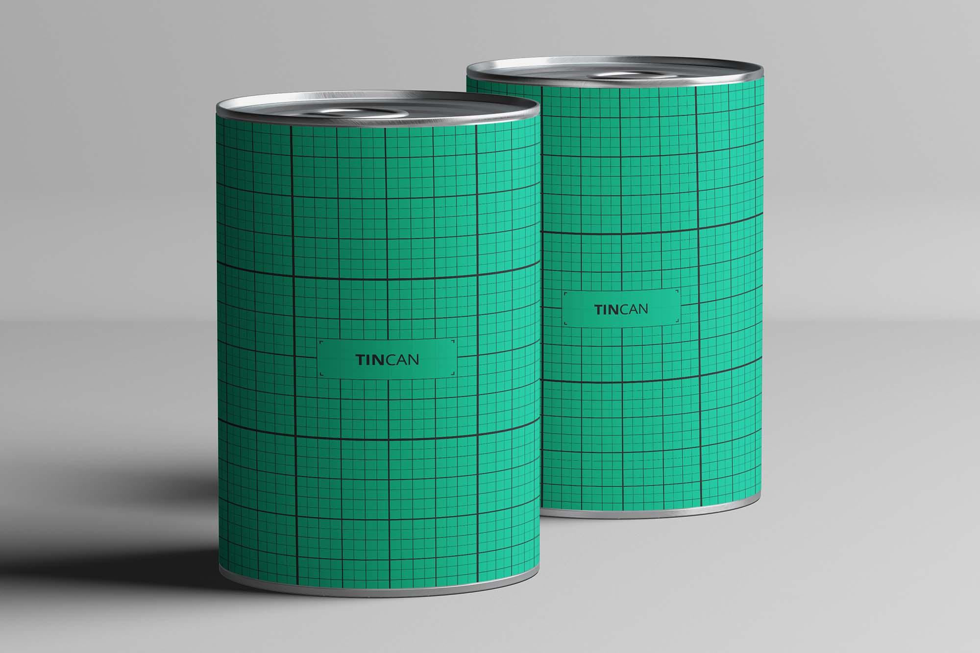 2 Long Tin Cans Mockup