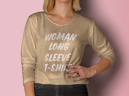 Woman Long Sleeve T-Shirt Mockup