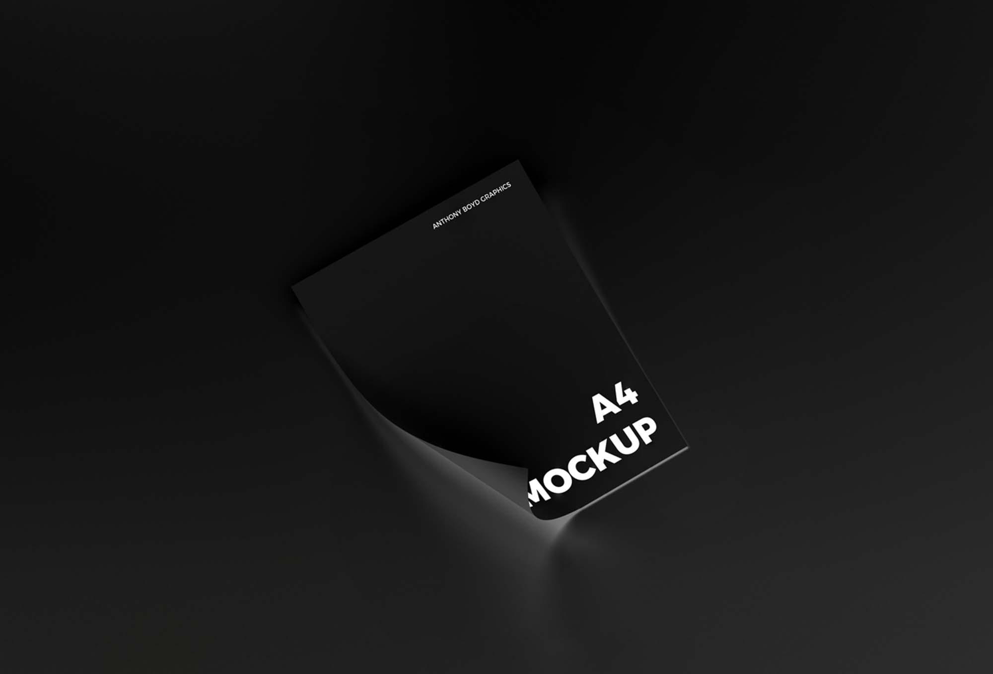 Curled Paper Mockup Black