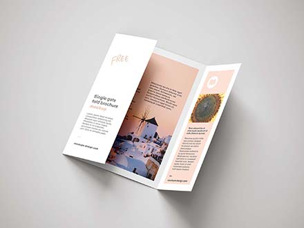 Single Gatefold Brochure Mockup