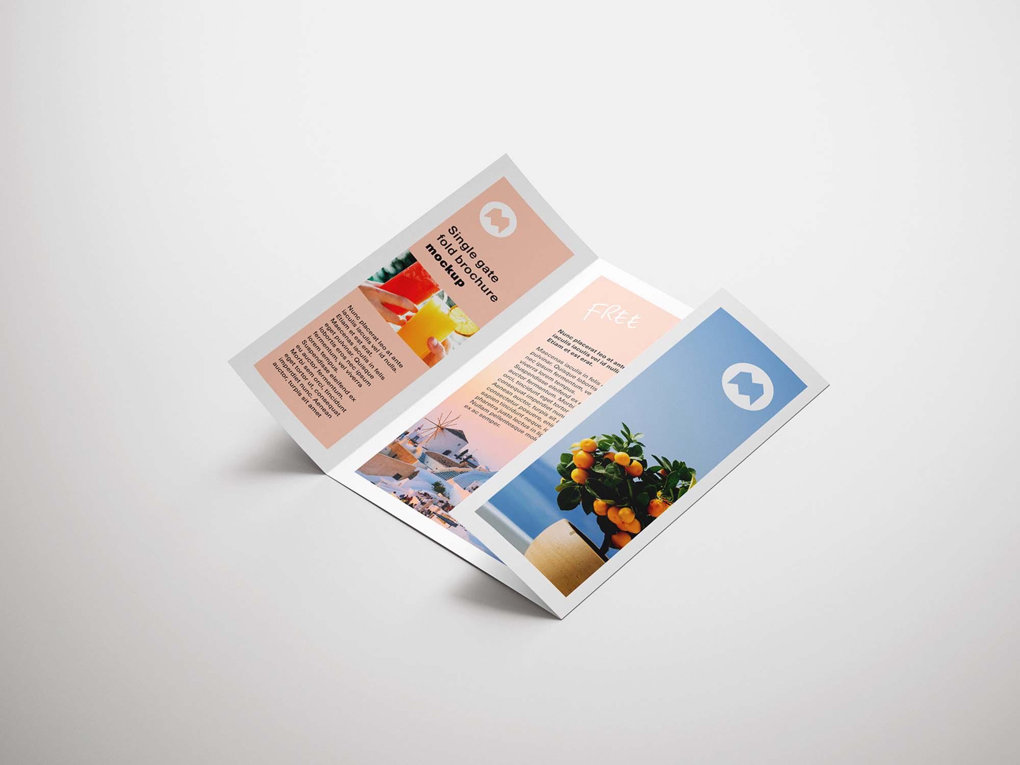 Free Single Gatefold Brochure Mockup (PSD)