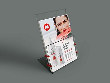 Transparent Leaflet Holder Mockup