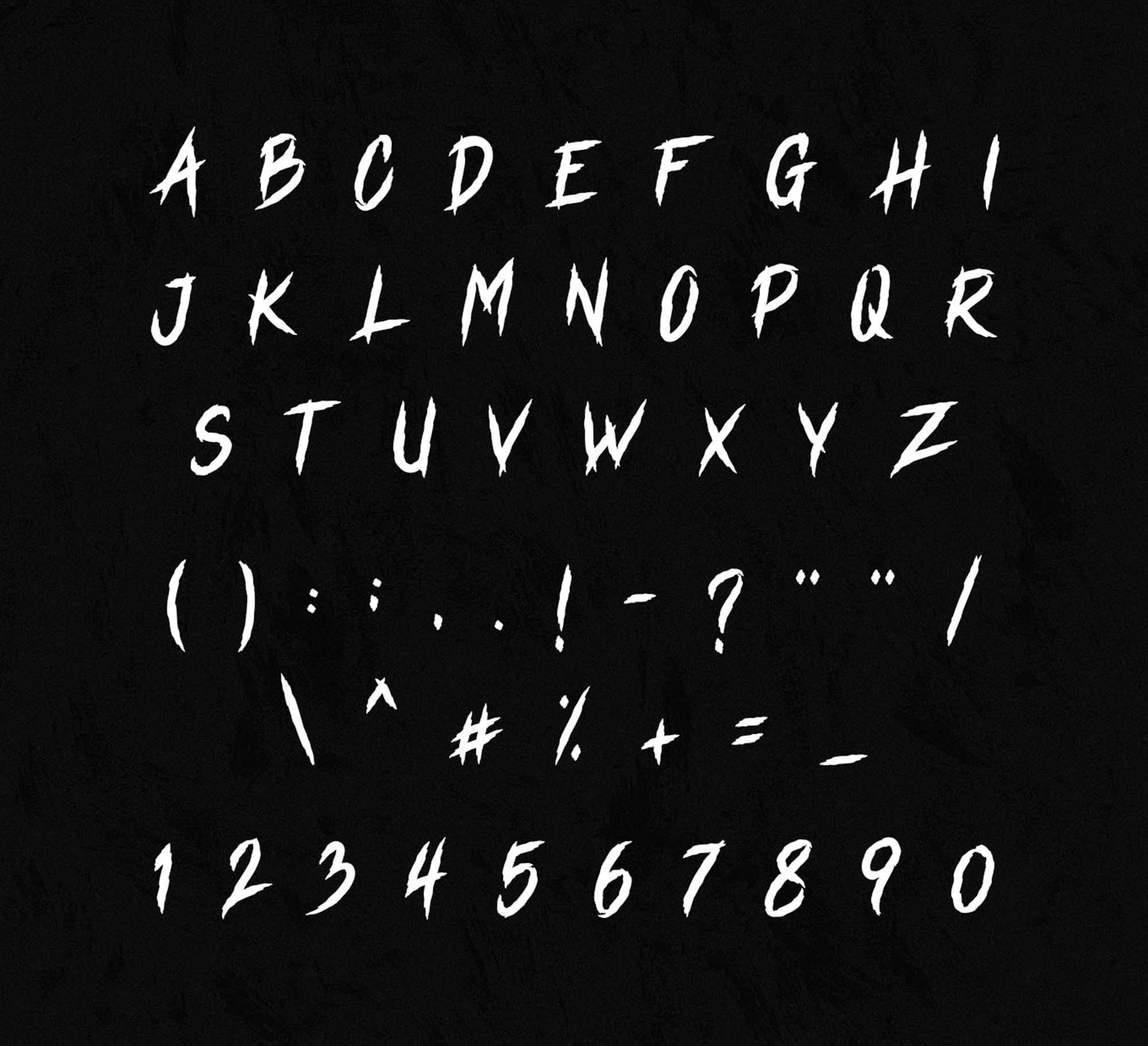 Vindica Rebel Typeface Letters