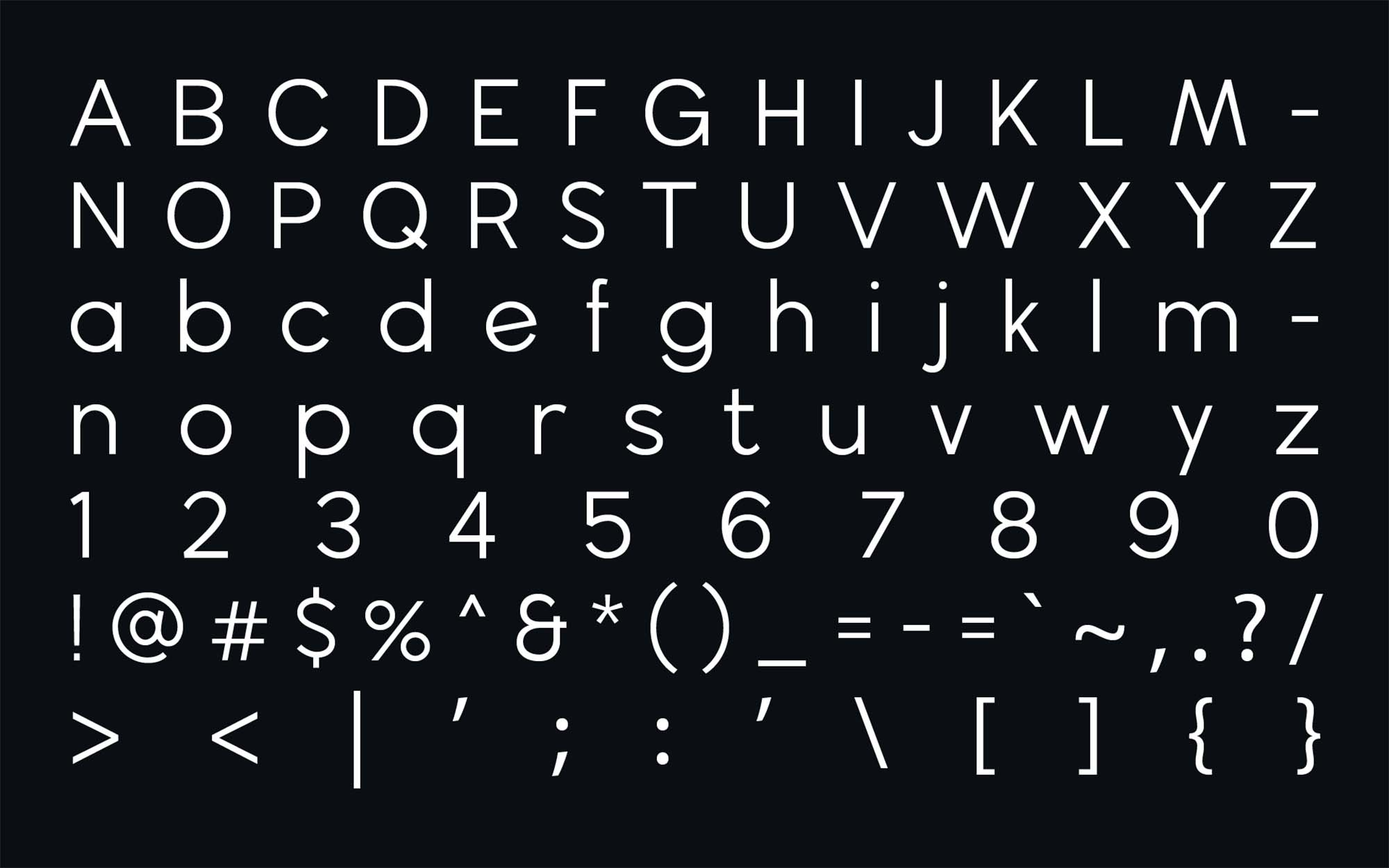 Wavehaus Sans Typeface Letters