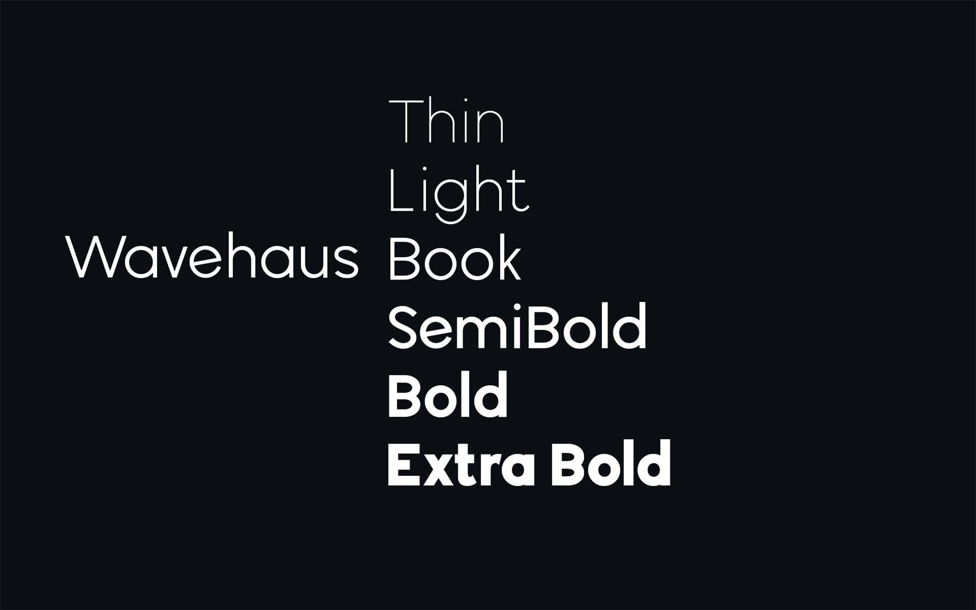 Wavehaus Sans Typeface Weights