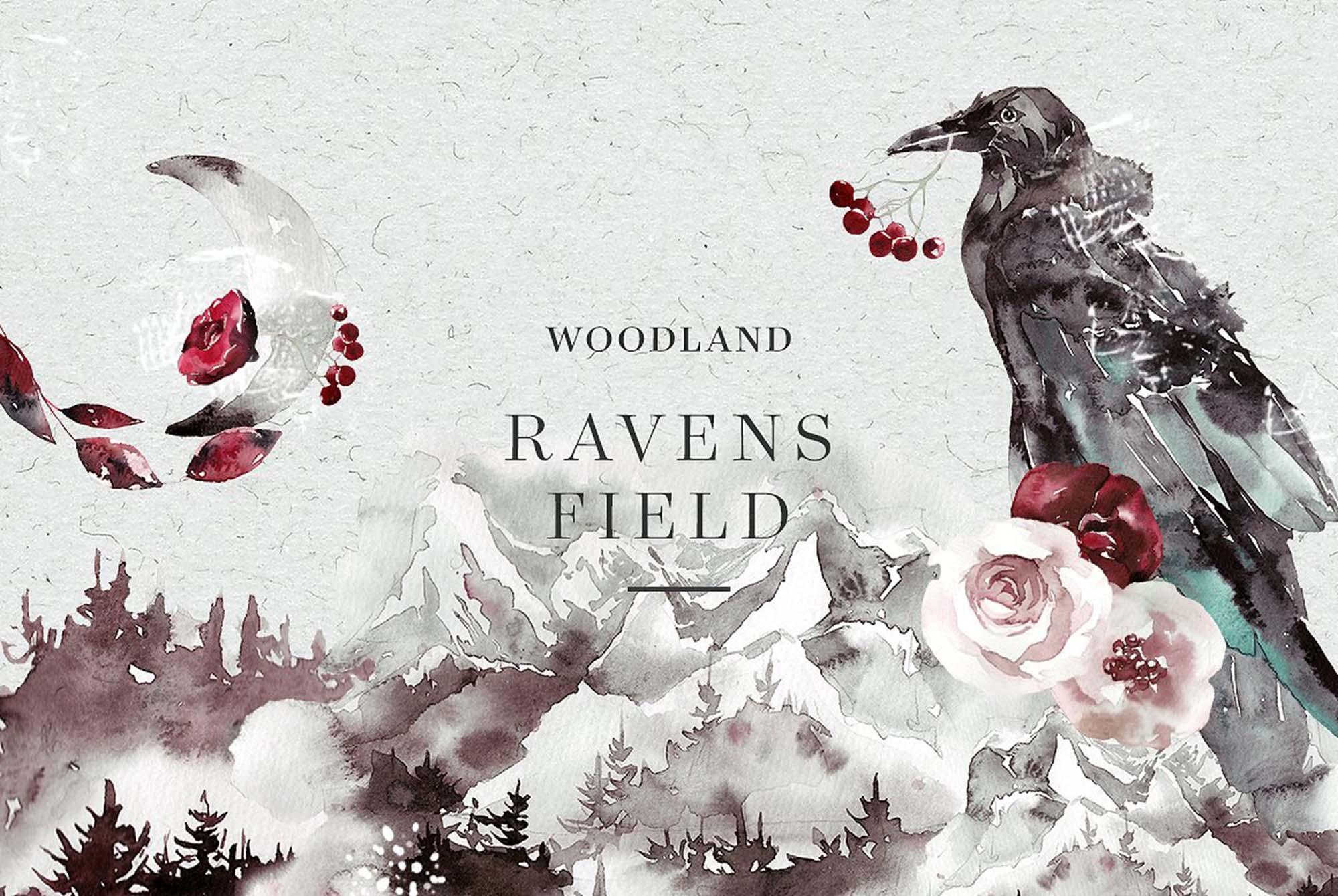 Woodland Ravens Field Watercolor Elements