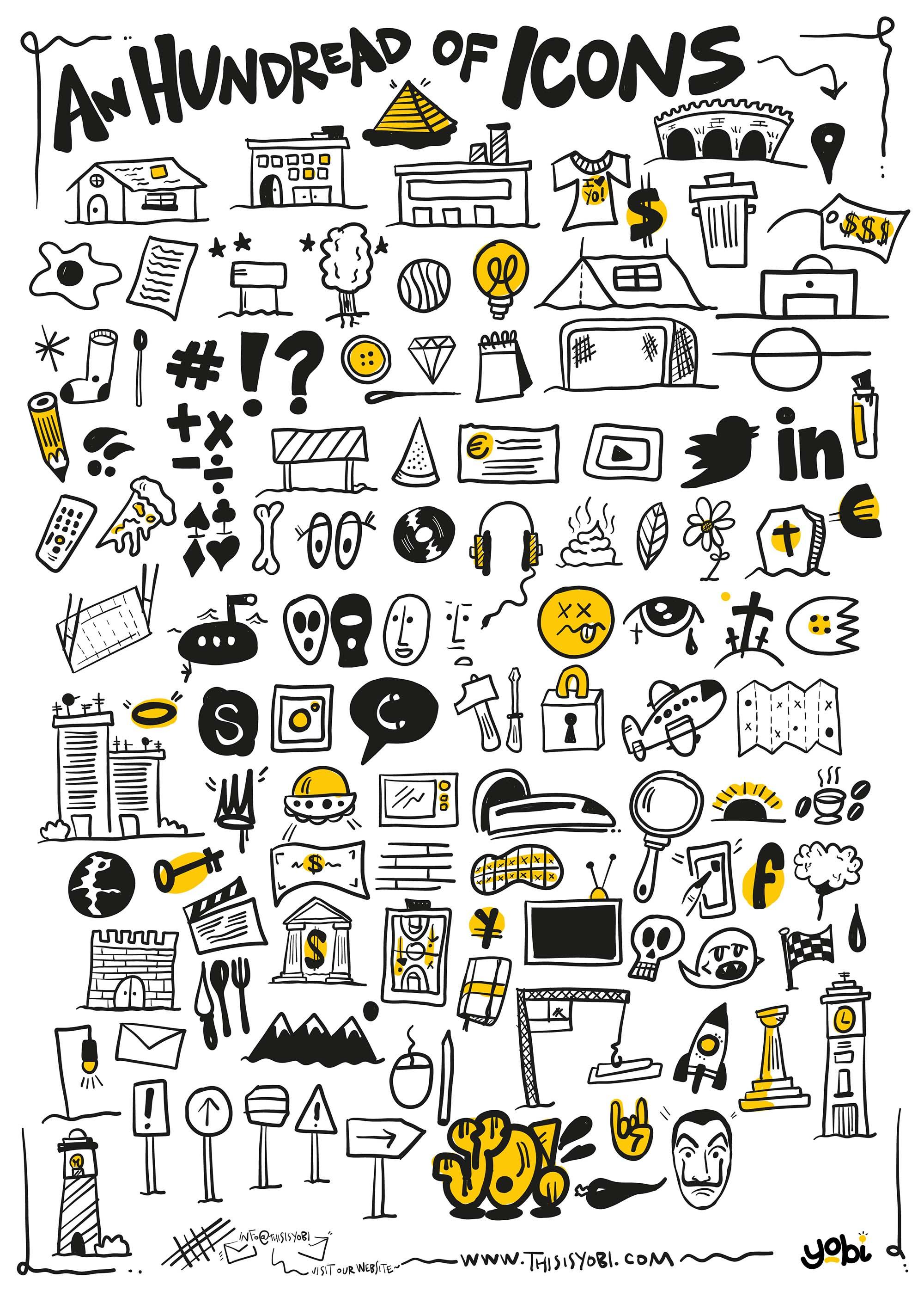 100 Hand-drawn Icons