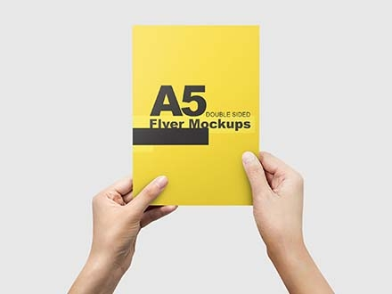 A5 Flyer Mockup in Hands