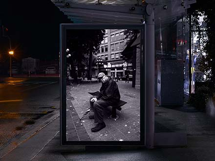 Bus Shelter Outdoor Advertisement Mockup