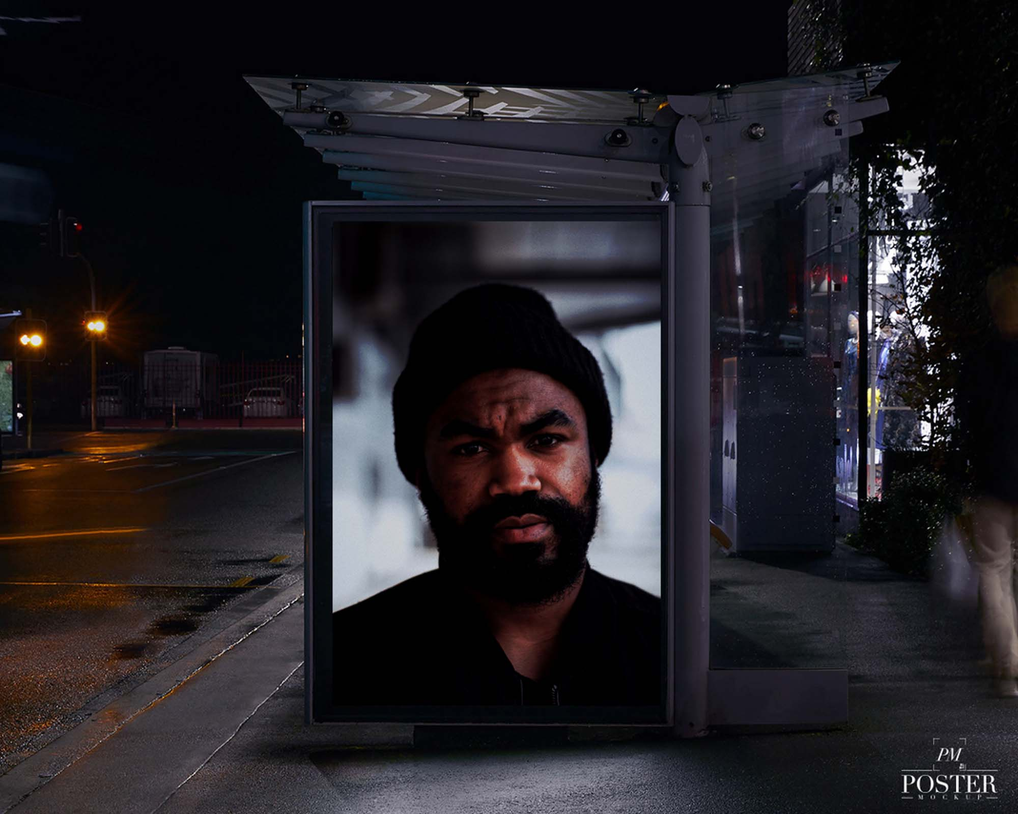 Bus Shelter Outdoor Advertisement Mockup