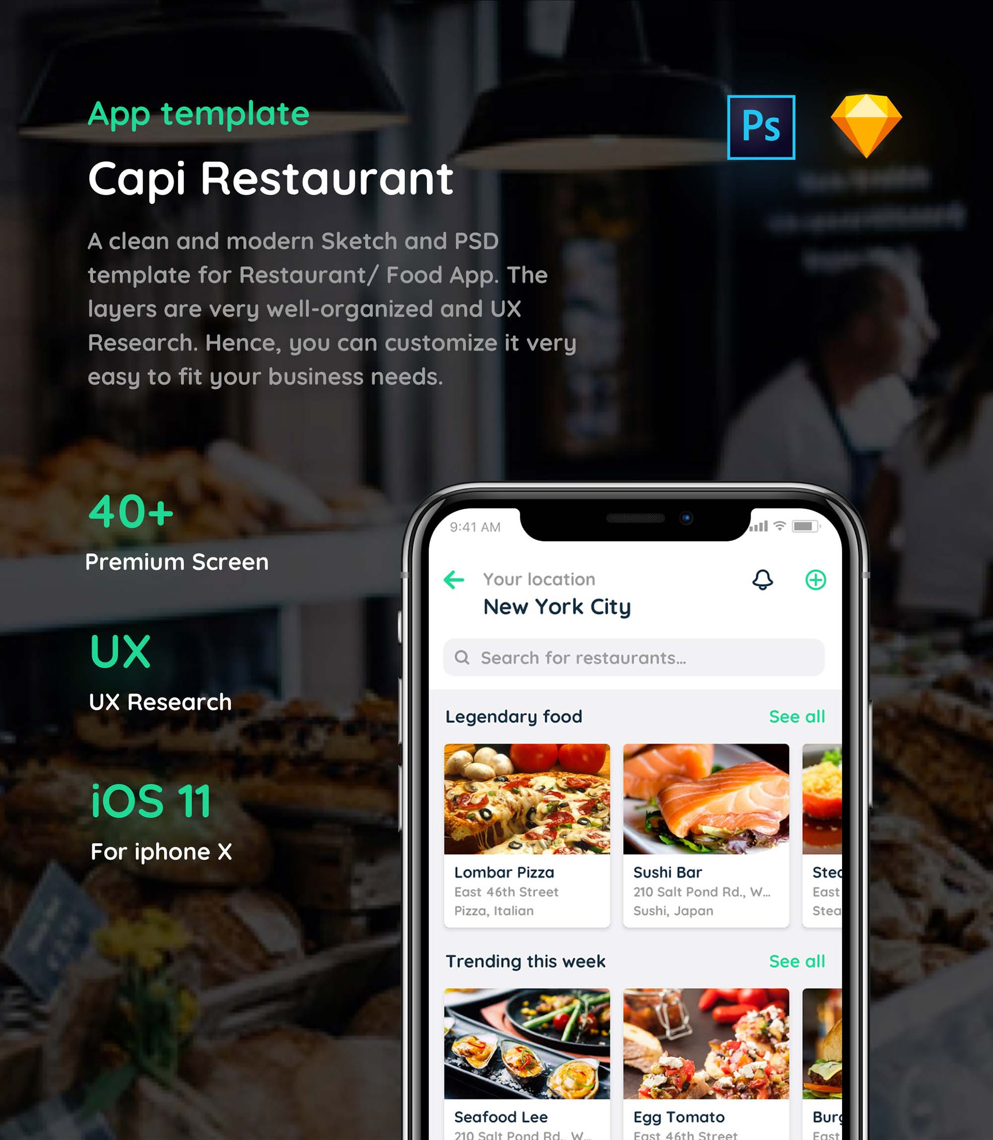 Capi Free IOS Restaurant Ui Kit (PSD, Sketch)