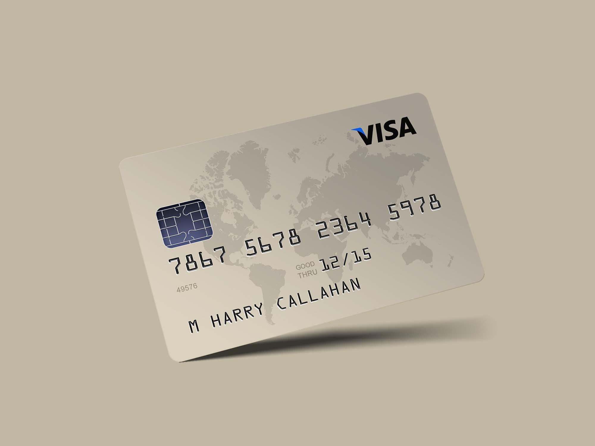 Free Photorealistic Credit Card Mockup Psd