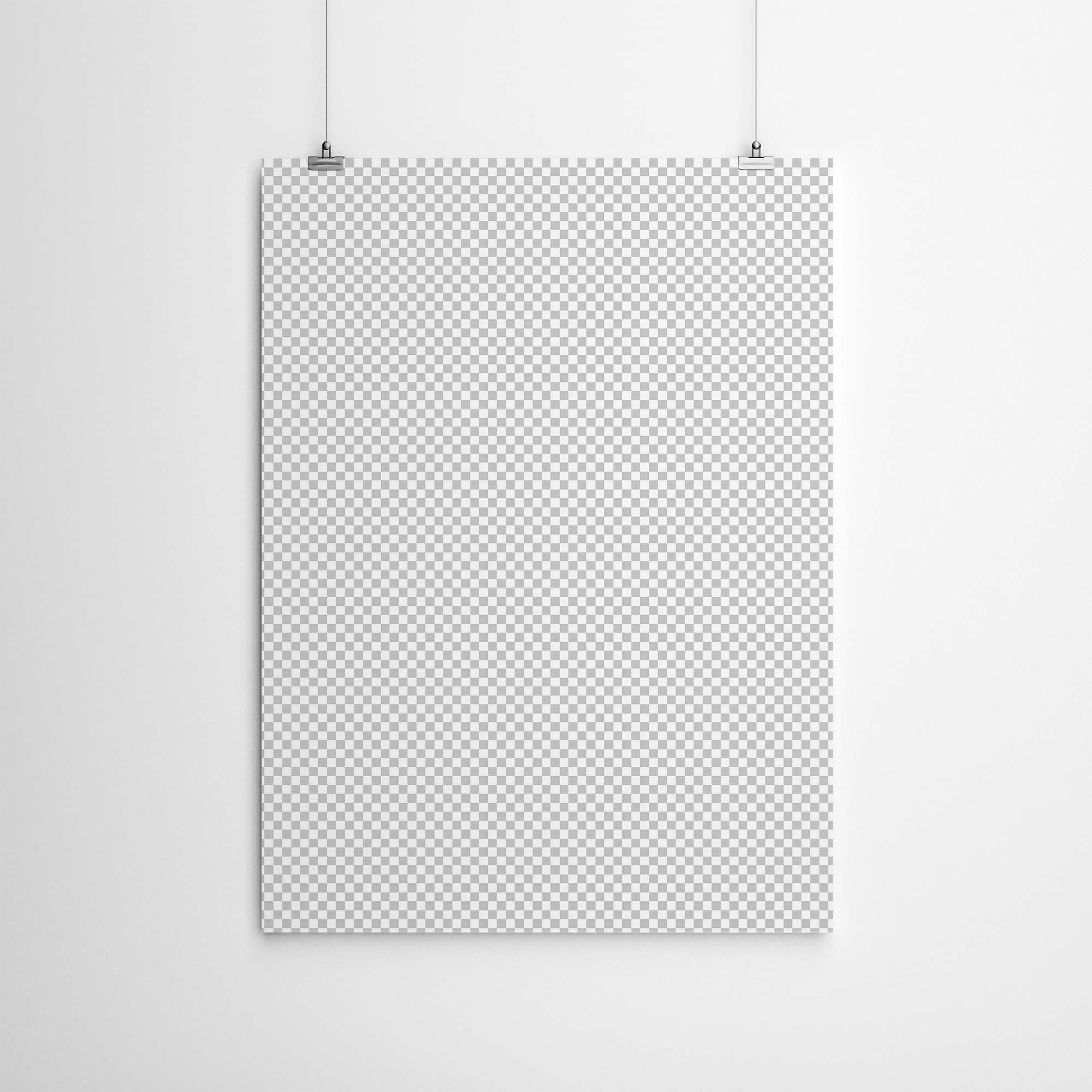Hanging Poster With Clips Mockup